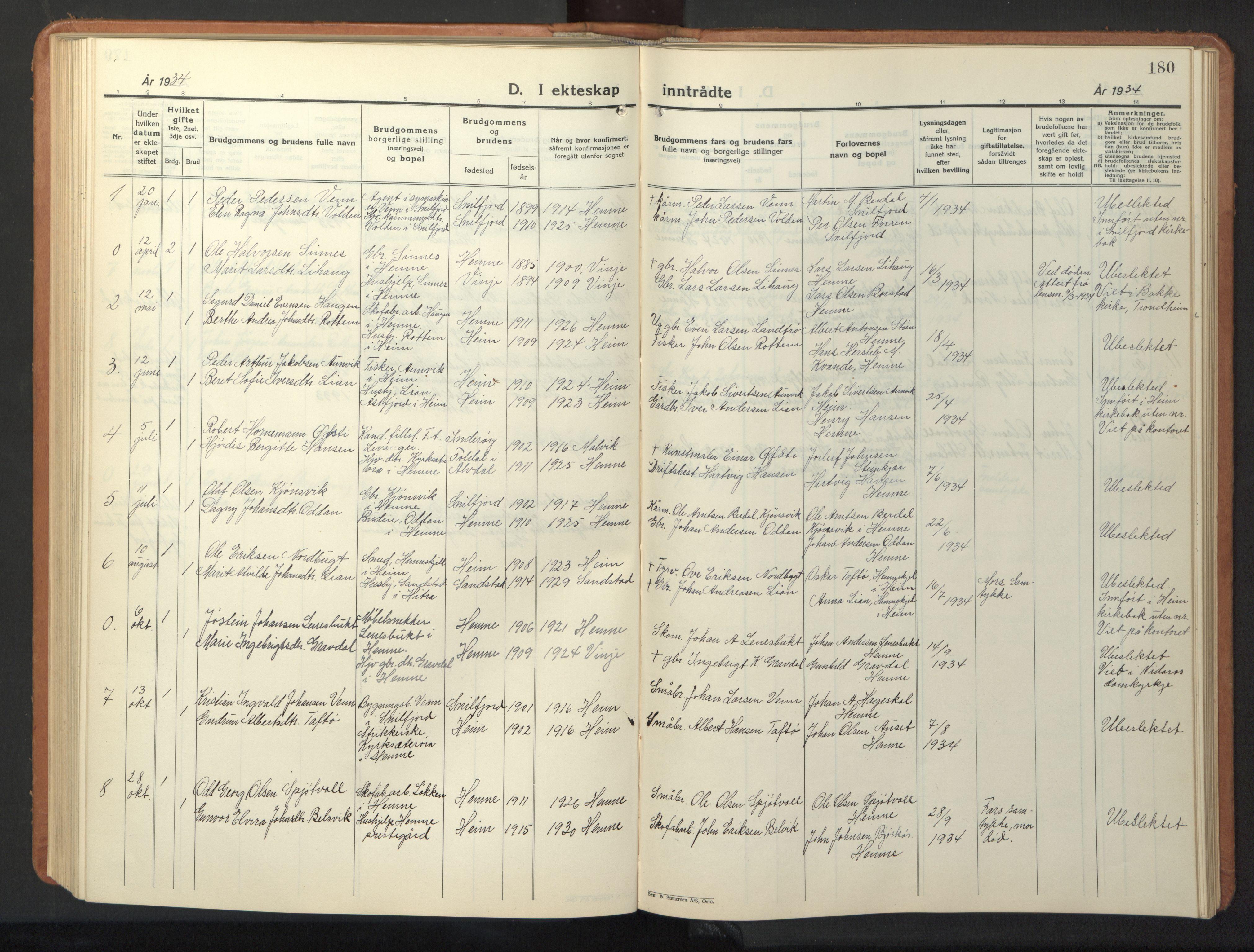 SAT, Ministerialprotokoller, klokkerbøker og fødselsregistre - Sør-Trøndelag, 630/L0508: Klokkerbok nr. 630C06, 1933-1950, s. 180