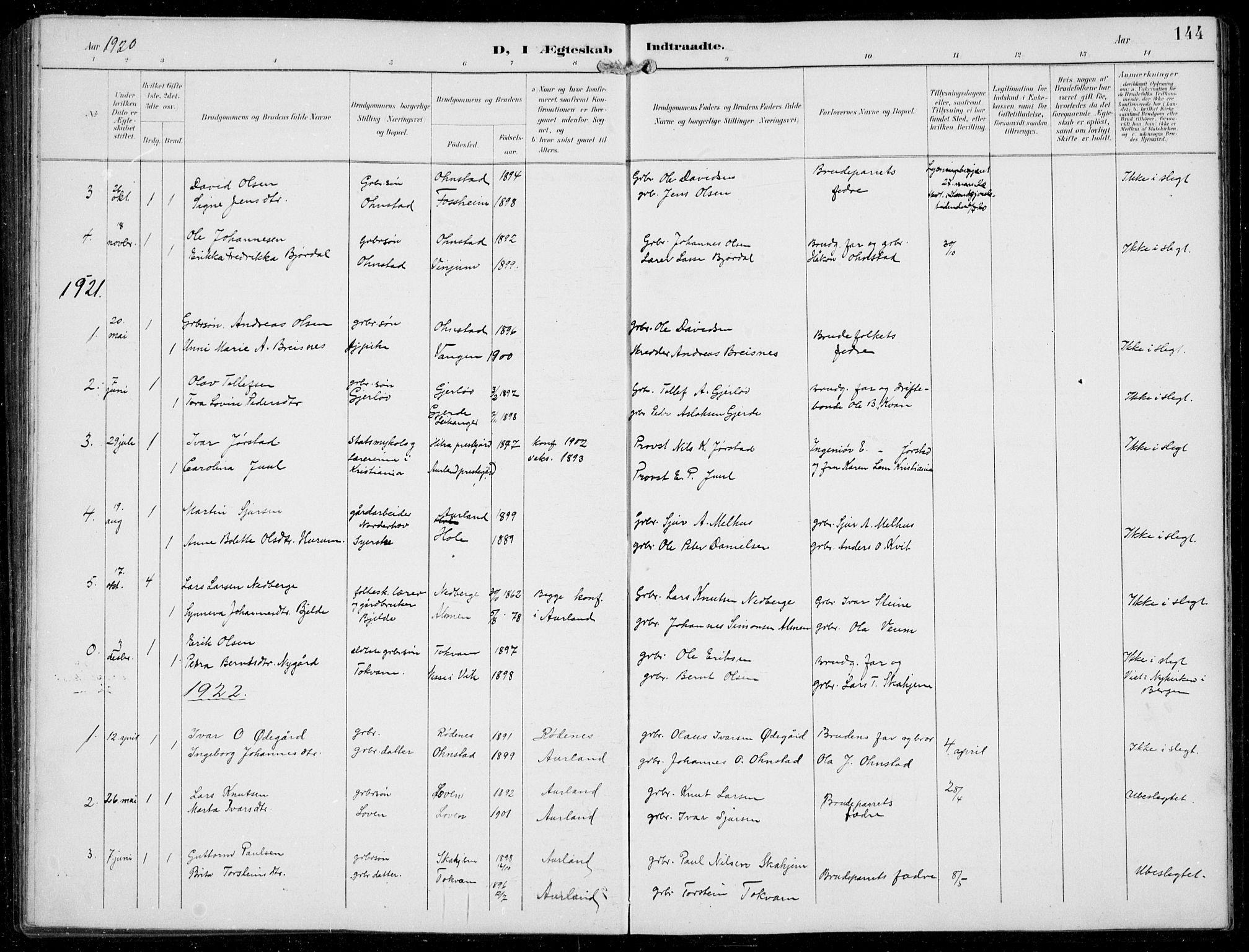 SAB, Aurland sokneprestembete, H/Hb/Hba/L0003: Klokkerbok nr. A 3, 1896-1939, s. 144