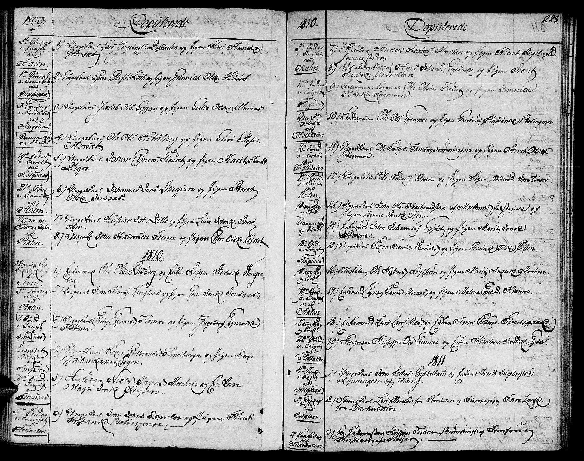 SAT, Ministerialprotokoller, klokkerbøker og fødselsregistre - Sør-Trøndelag, 685/L0953: Ministerialbok nr. 685A02, 1805-1816, s. 228