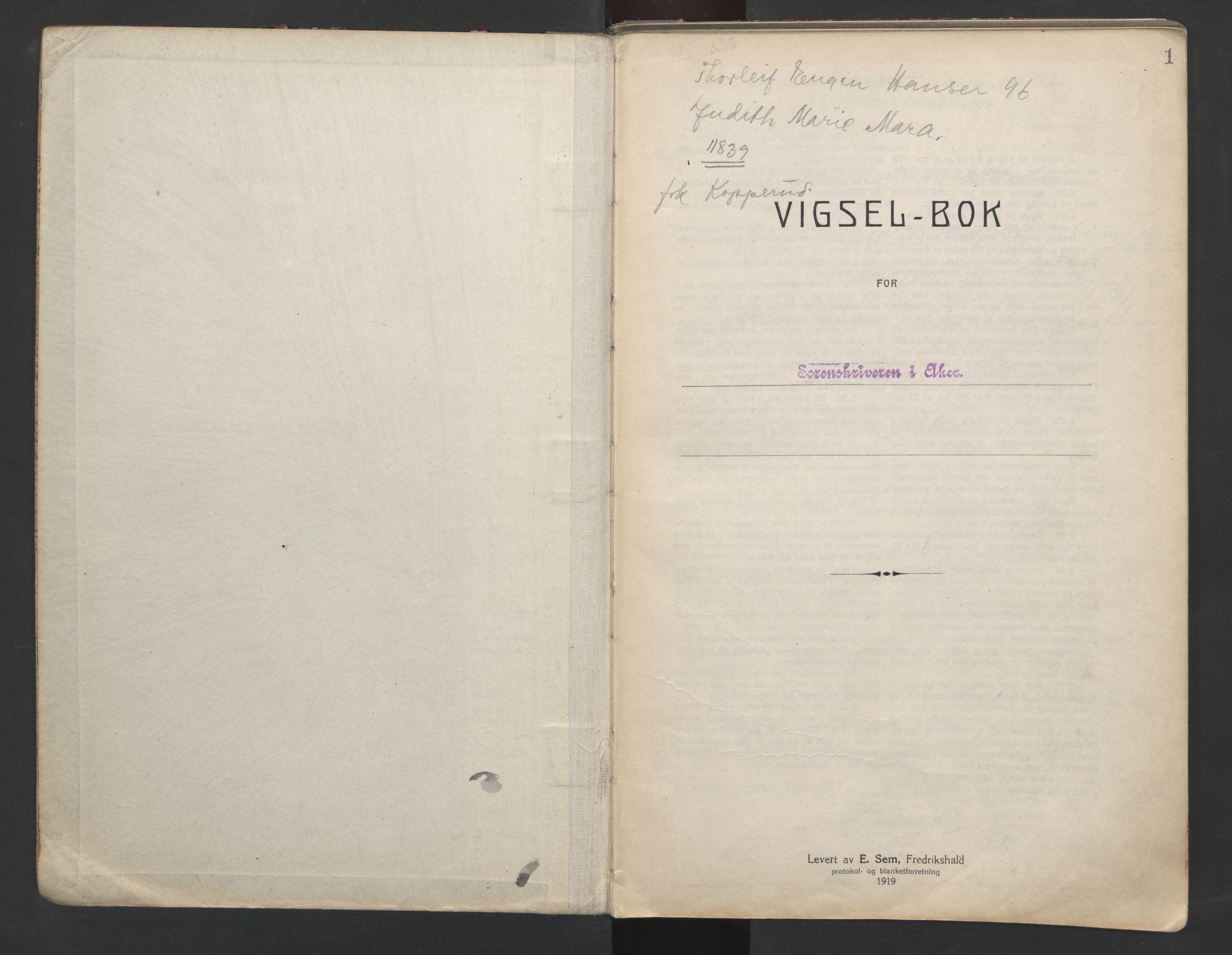 SAO, Aker sorenskriveri, L/Lc/Lcb/L0001: Vigselprotokoll, 1920-1922, s. 1
