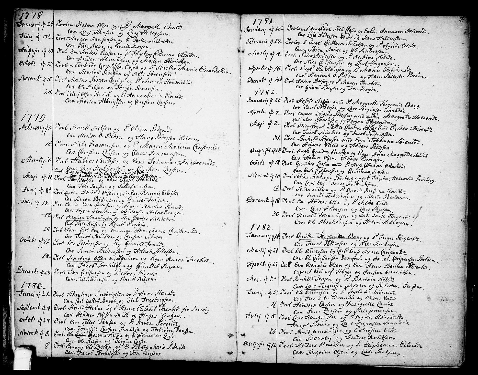 SAKO, Kragerø kirkebøker, F/Fa/L0002: Ministerialbok nr. 2, 1767-1802, s. 3