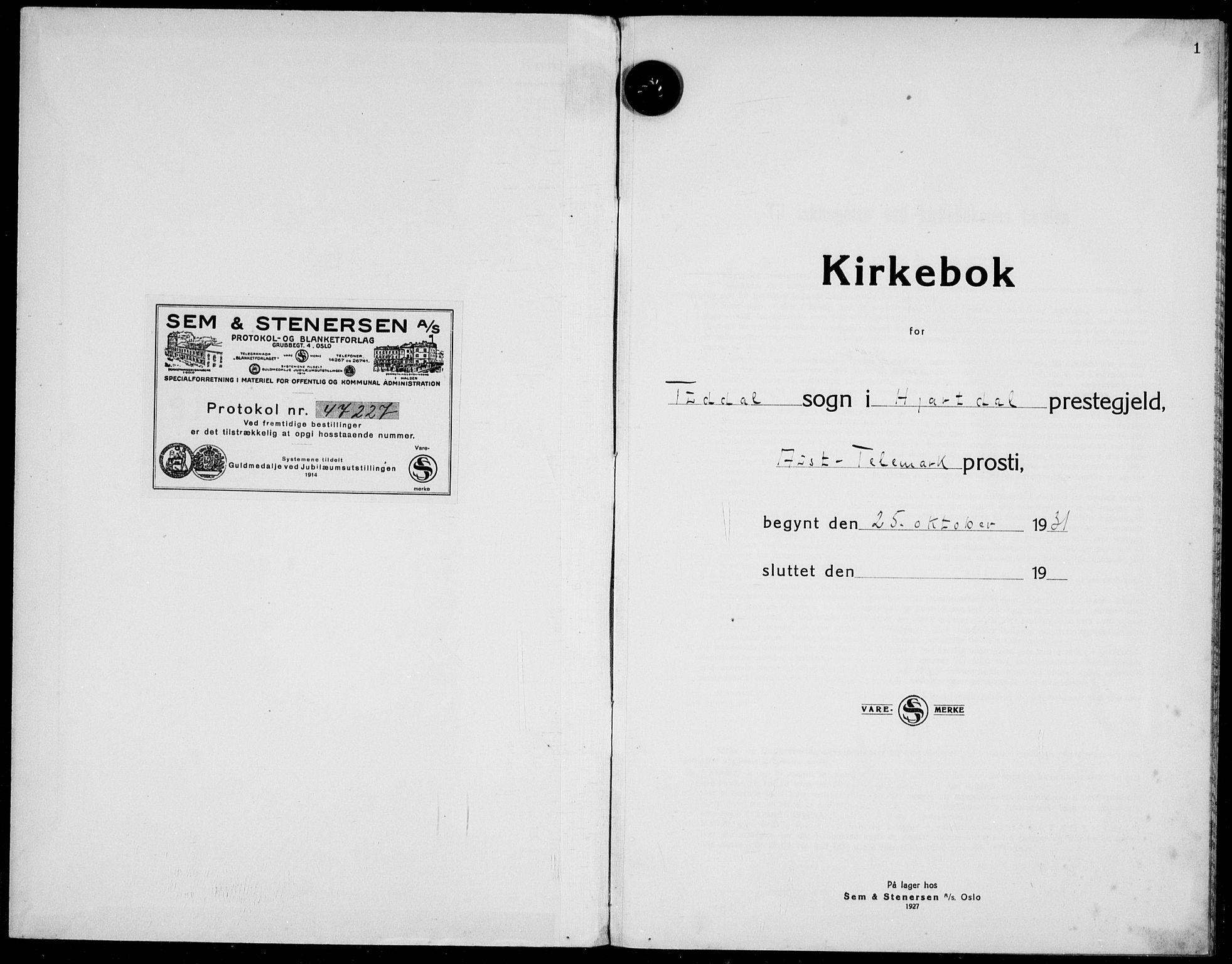 SAKO, Hjartdal kirkebøker, F/Fc/L0003: Ministerialbok nr. III 3, 1931-1936, s. 1
