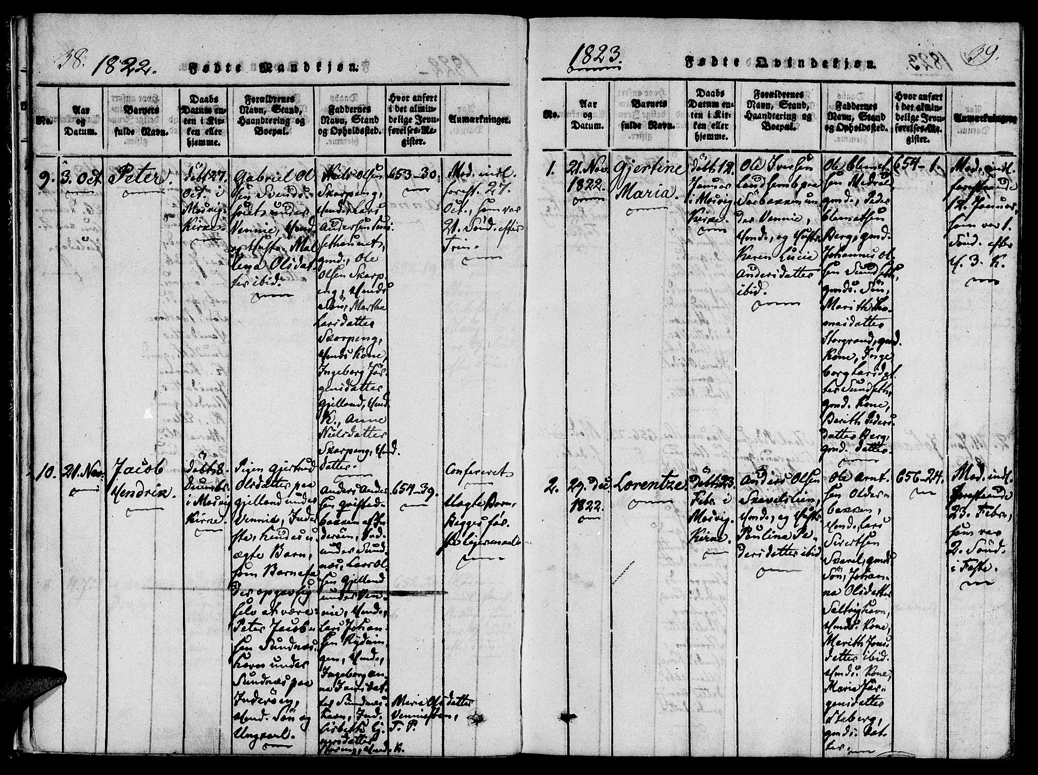 SAT, Ministerialprotokoller, klokkerbøker og fødselsregistre - Nord-Trøndelag, 733/L0322: Ministerialbok nr. 733A01, 1817-1842, s. 38-39