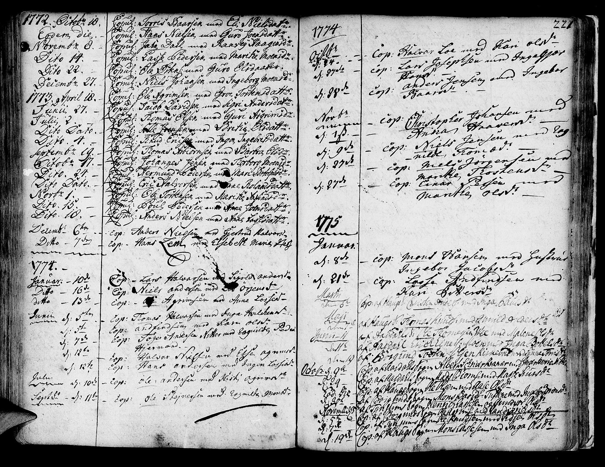SAB, Lærdal Sokneprestembete, Ministerialbok nr. A 2, 1752-1782, s. 221