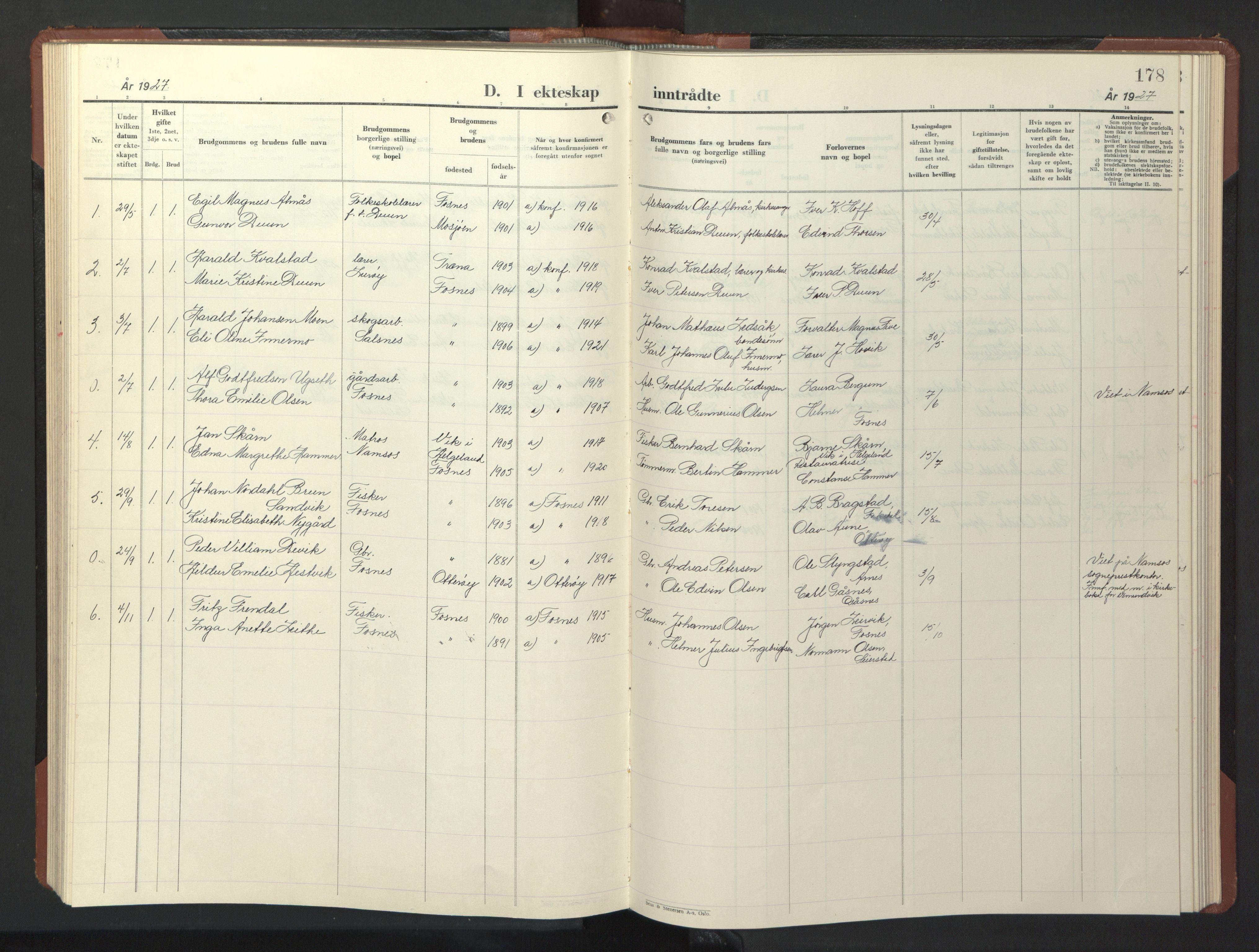 SAT, Ministerialprotokoller, klokkerbøker og fødselsregistre - Nord-Trøndelag, 773/L0625: Klokkerbok nr. 773C01, 1910-1952, s. 178