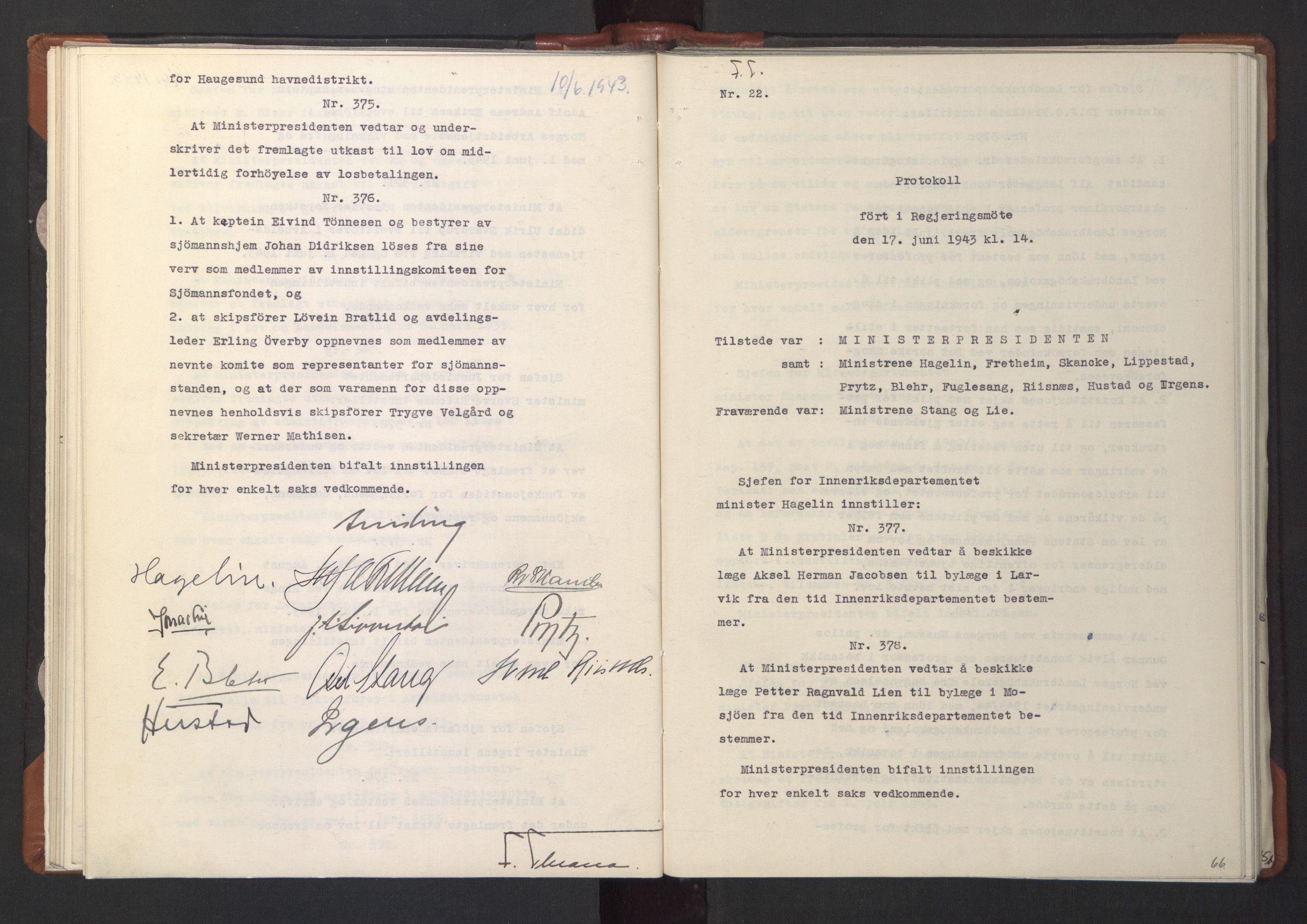 RA, NS-administrasjonen 1940-1945 (Statsrådsekretariatet, de kommisariske statsråder mm), D/Da/L0003: Vedtak (Beslutninger) nr. 1-746 og tillegg nr. 1-47 (RA. j.nr. 1394/1944, tilgangsnr. 8/1944, 1943, s. 65b-66a