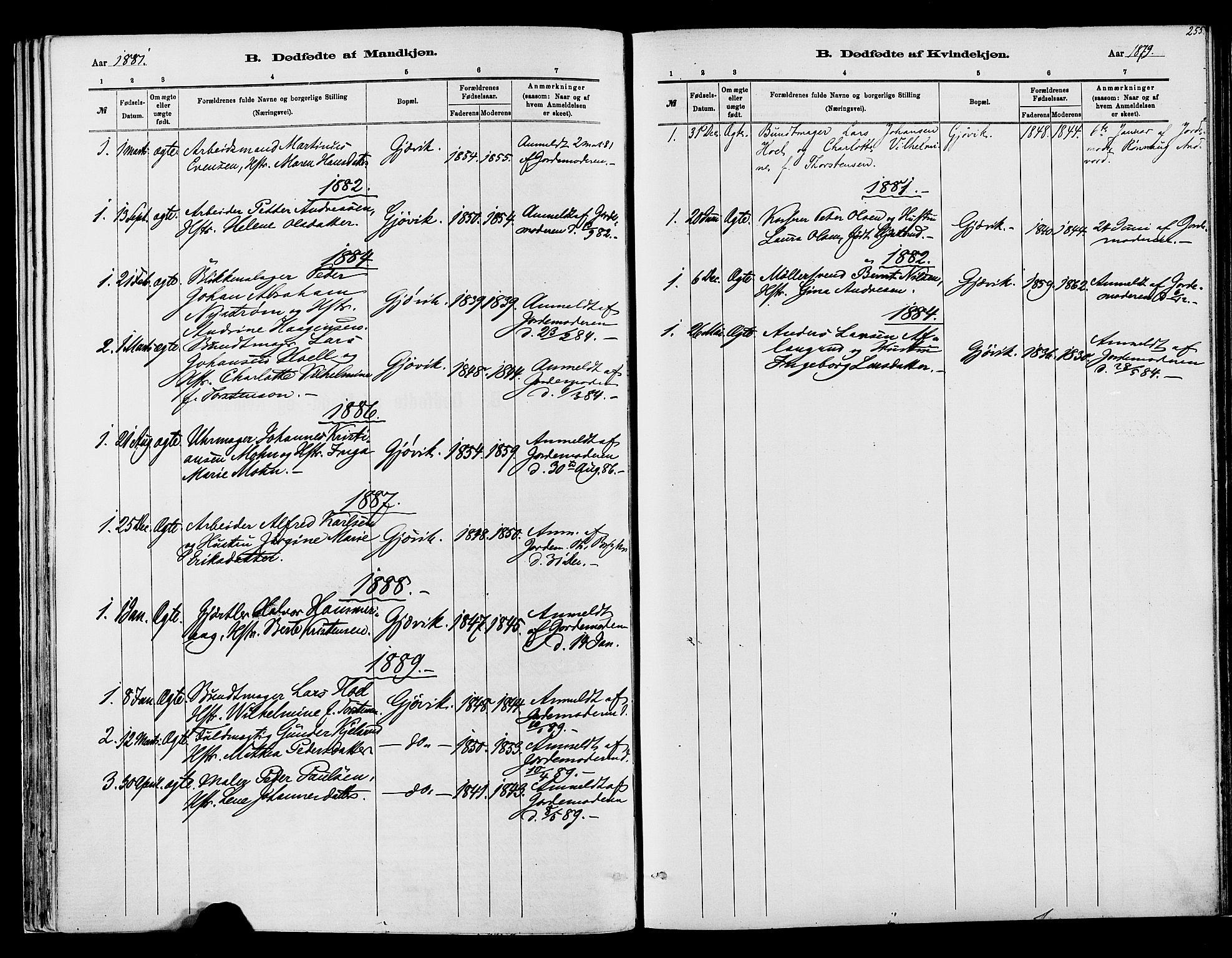 SAH, Vardal prestekontor, H/Ha/Haa/L0008: Ministerialbok nr. 8, 1878-1890, s. 255