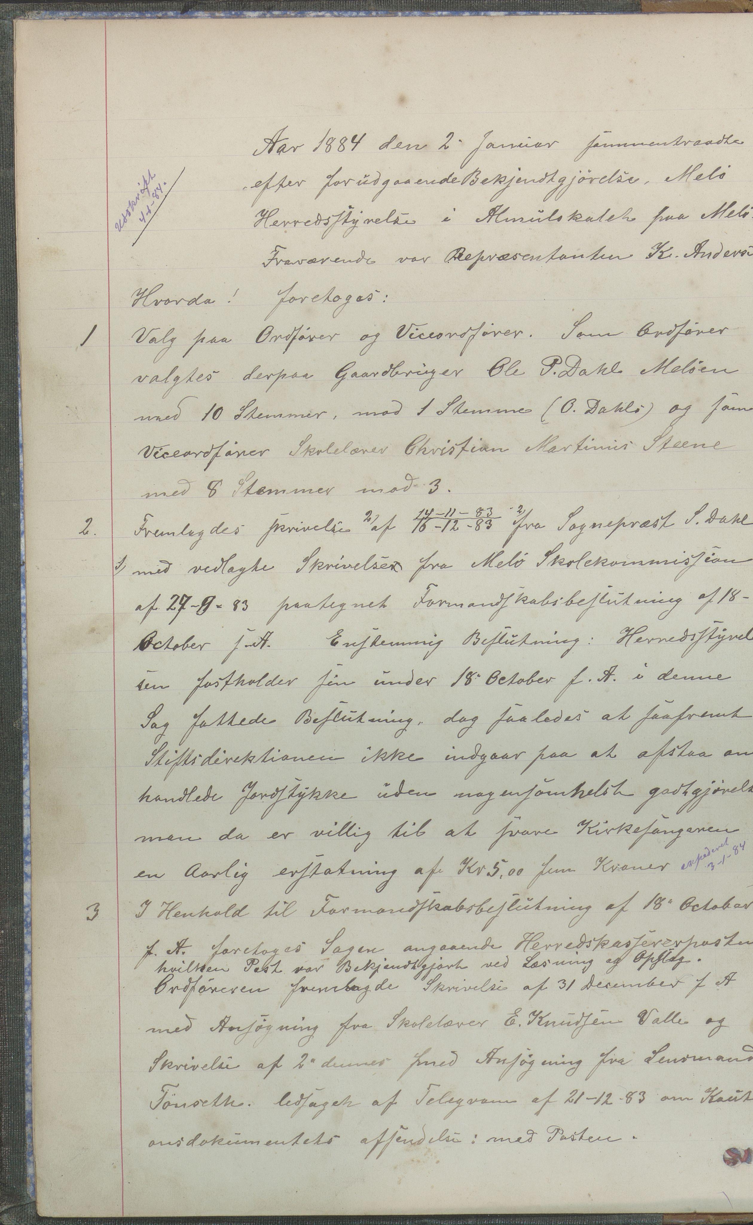 AIN, Meløy kommune. Formannskapet, 100/L0001: Forhandlingsprotokoll, 1884-1895, s. 0b