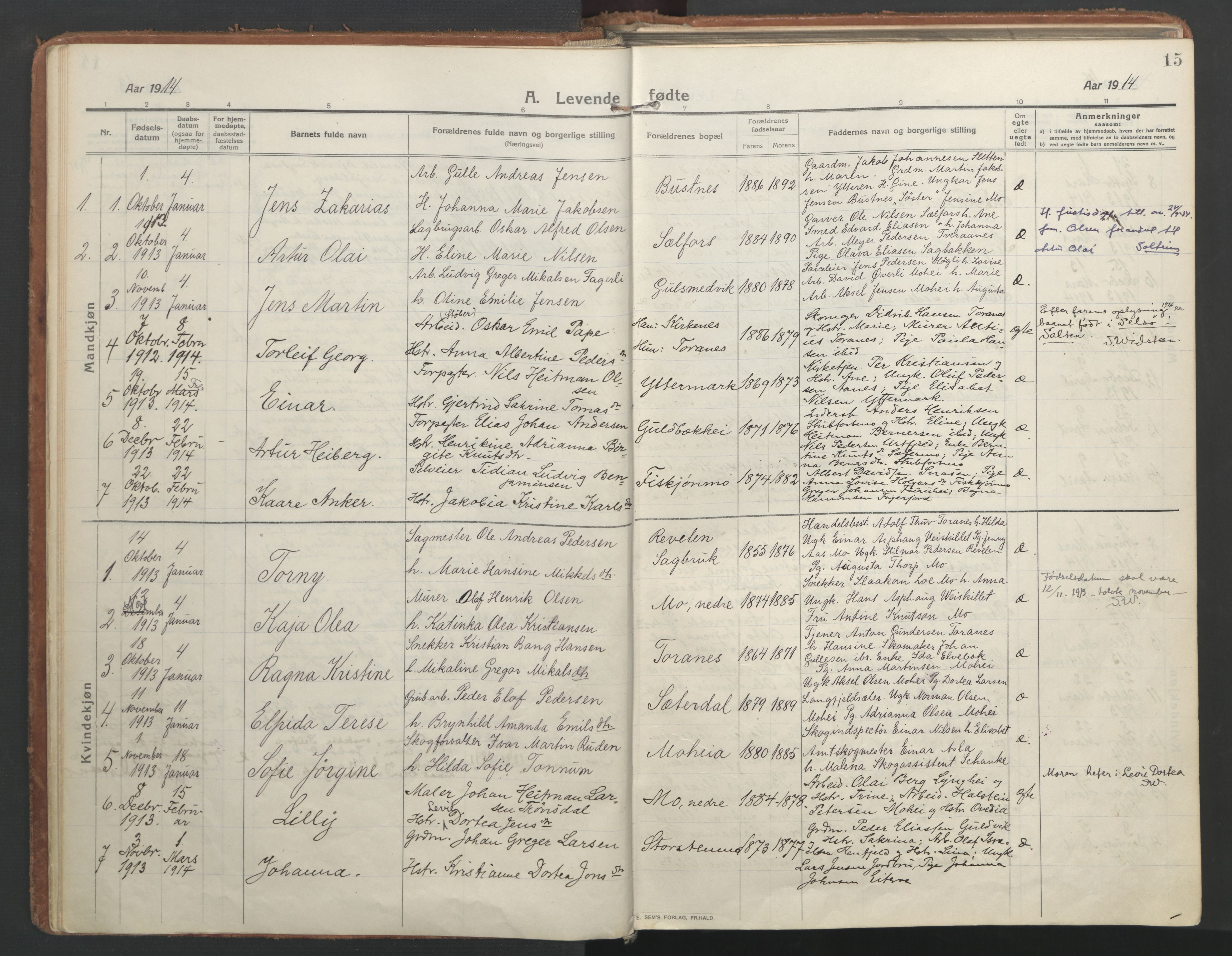 SAT, Ministerialprotokoller, klokkerbøker og fødselsregistre - Nordland, 827/L0404: Ministerialbok nr. 827A16, 1912-1925, s. 15