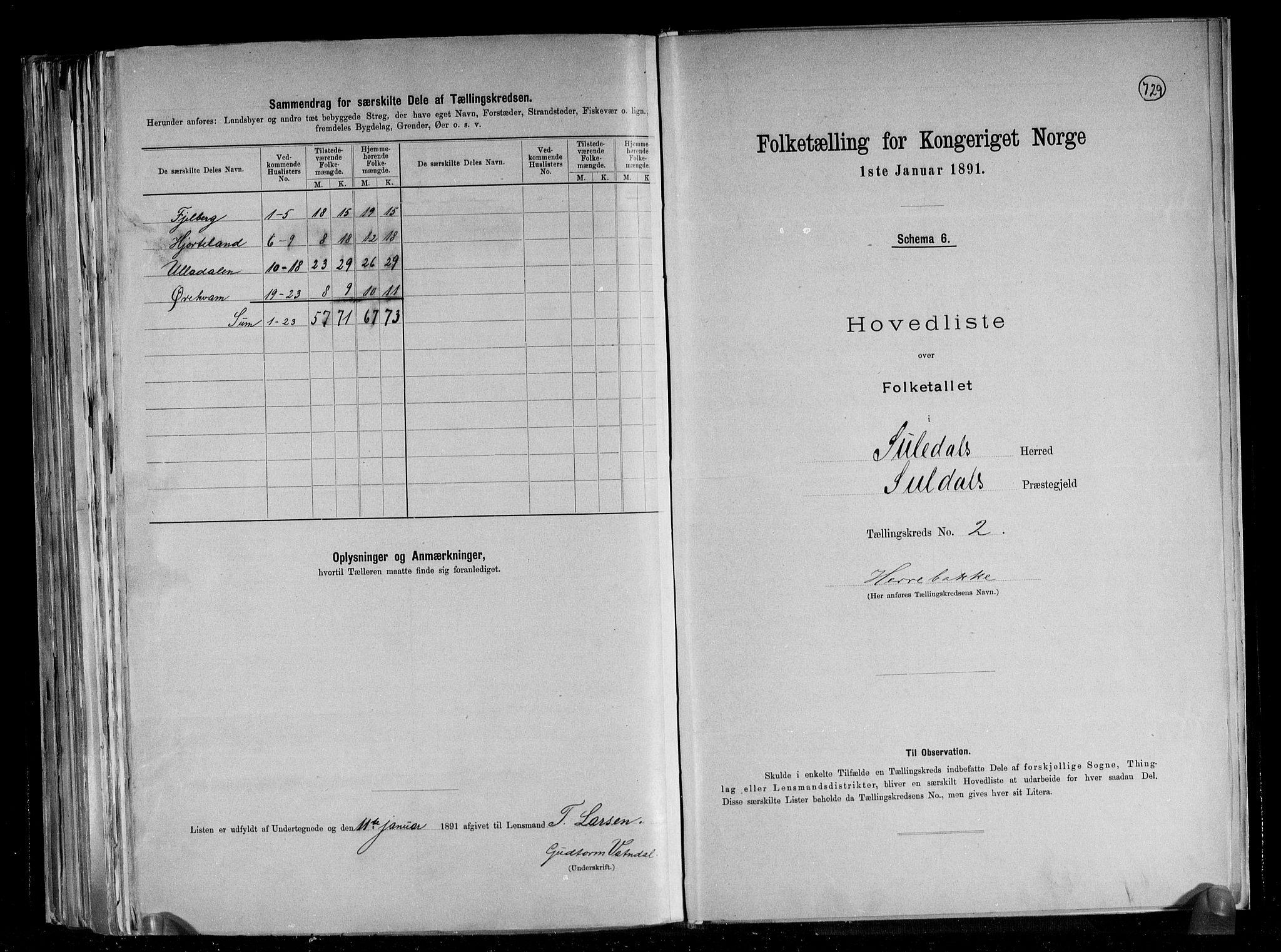 RA, Folketelling 1891 for 1134 Suldal herred, 1891, s. 6