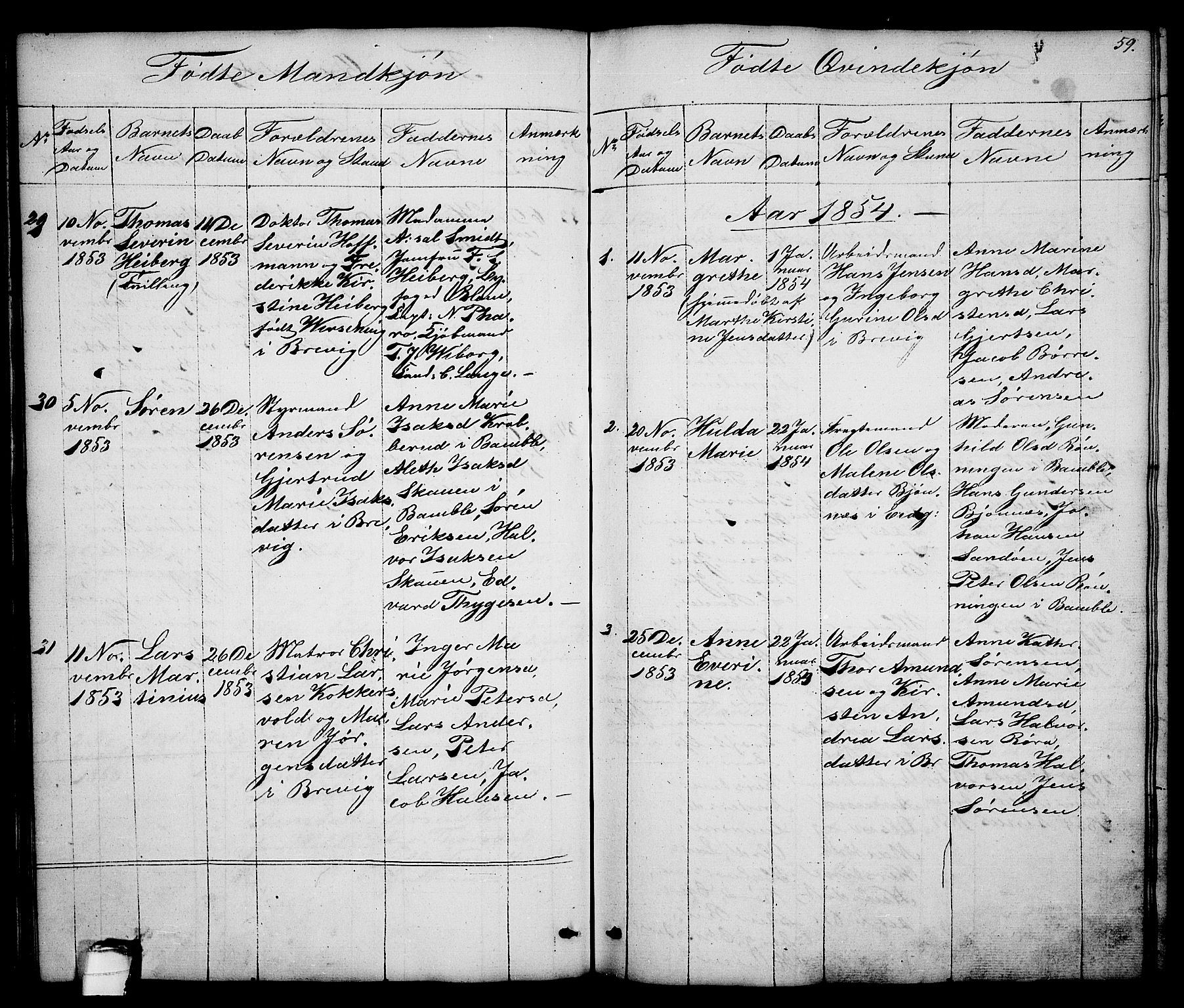SAKO, Brevik kirkebøker, G/Ga/L0002: Klokkerbok nr. 2, 1846-1865, s. 59
