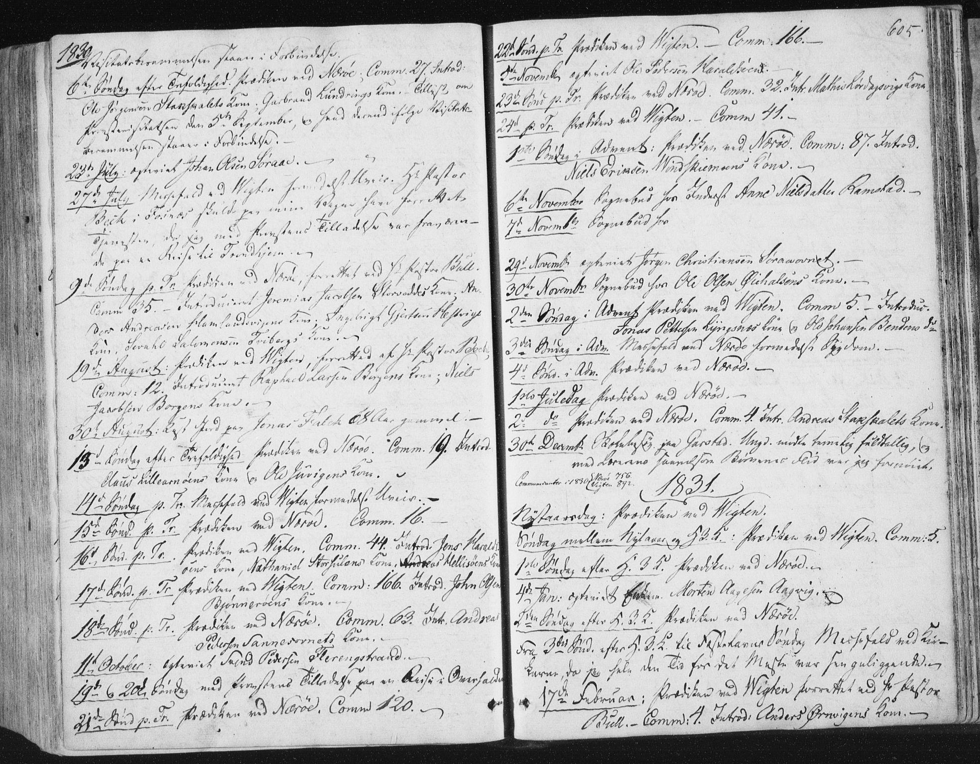 SAT, Ministerialprotokoller, klokkerbøker og fødselsregistre - Nord-Trøndelag, 784/L0669: Ministerialbok nr. 784A04, 1829-1859, s. 605