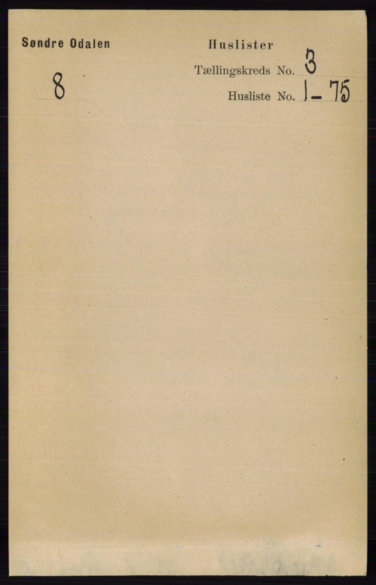 RA, Folketelling 1891 for 0419 Sør-Odal herred, 1891, s. 1075