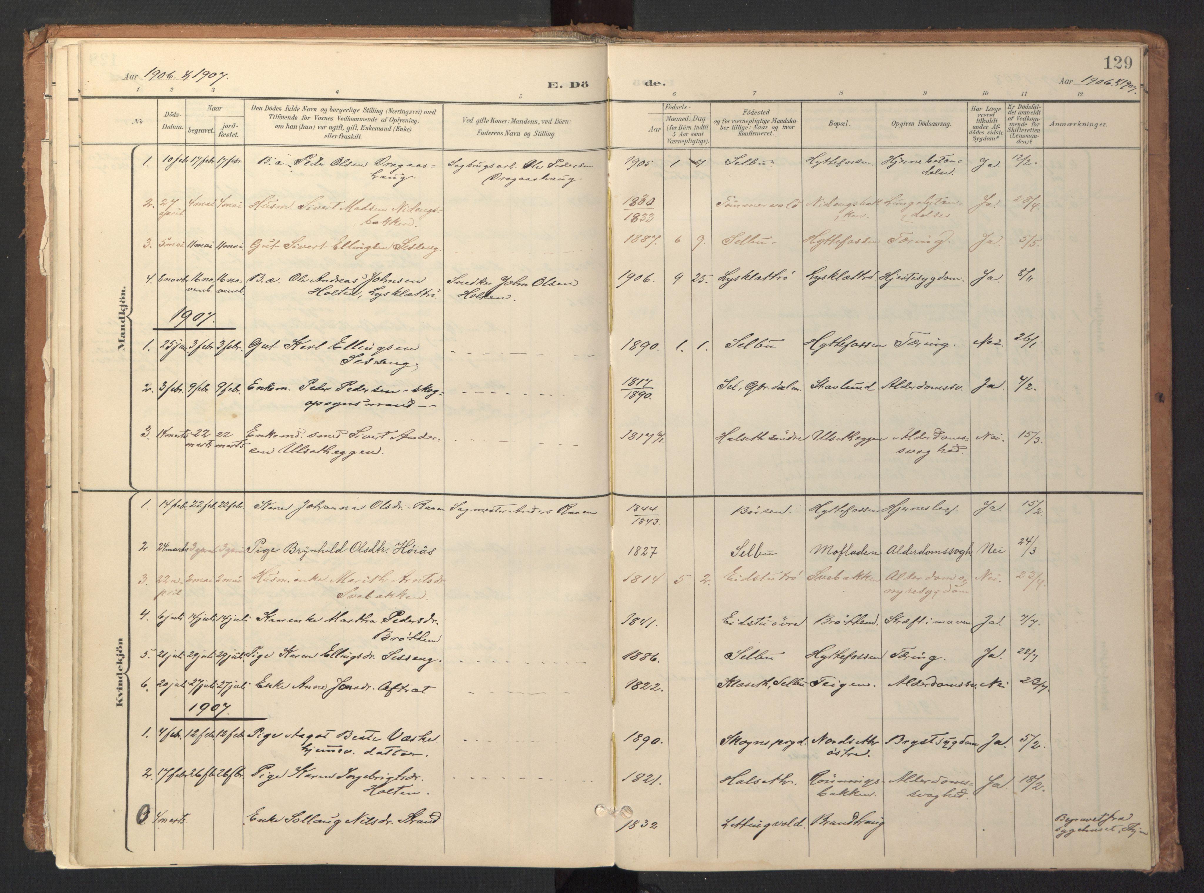 SAT, Ministerialprotokoller, klokkerbøker og fødselsregistre - Sør-Trøndelag, 618/L0448: Ministerialbok nr. 618A11, 1898-1916, s. 129