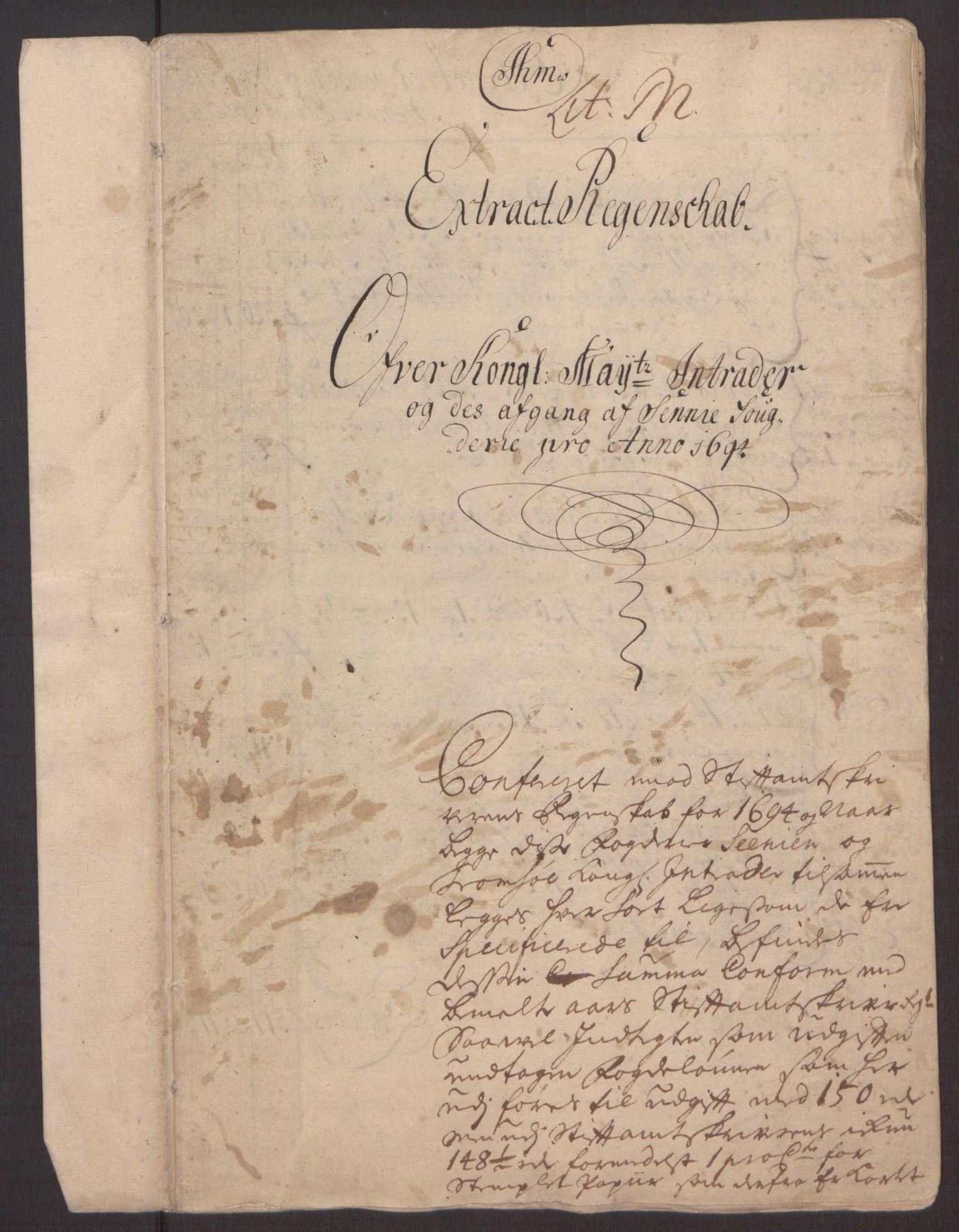 RA, Rentekammeret inntil 1814, Reviderte regnskaper, Fogderegnskap, R68/L4753: Fogderegnskap Senja og Troms, 1694-1696, s. 4