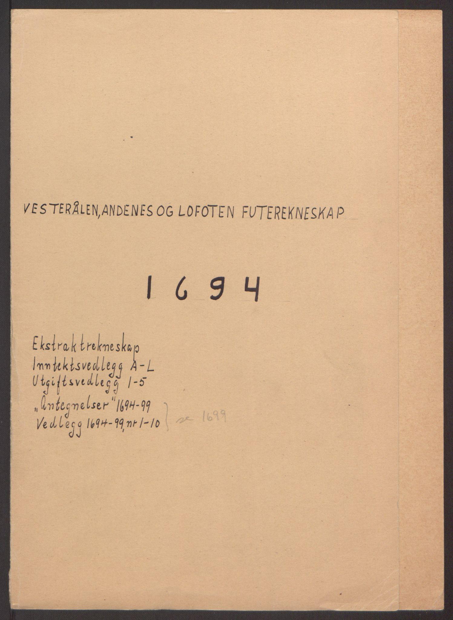 RA, Rentekammeret inntil 1814, Reviderte regnskaper, Fogderegnskap, R67/L4677: Fogderegnskap Vesterålen, Andenes og Lofoten, 1694-1695, s. 2