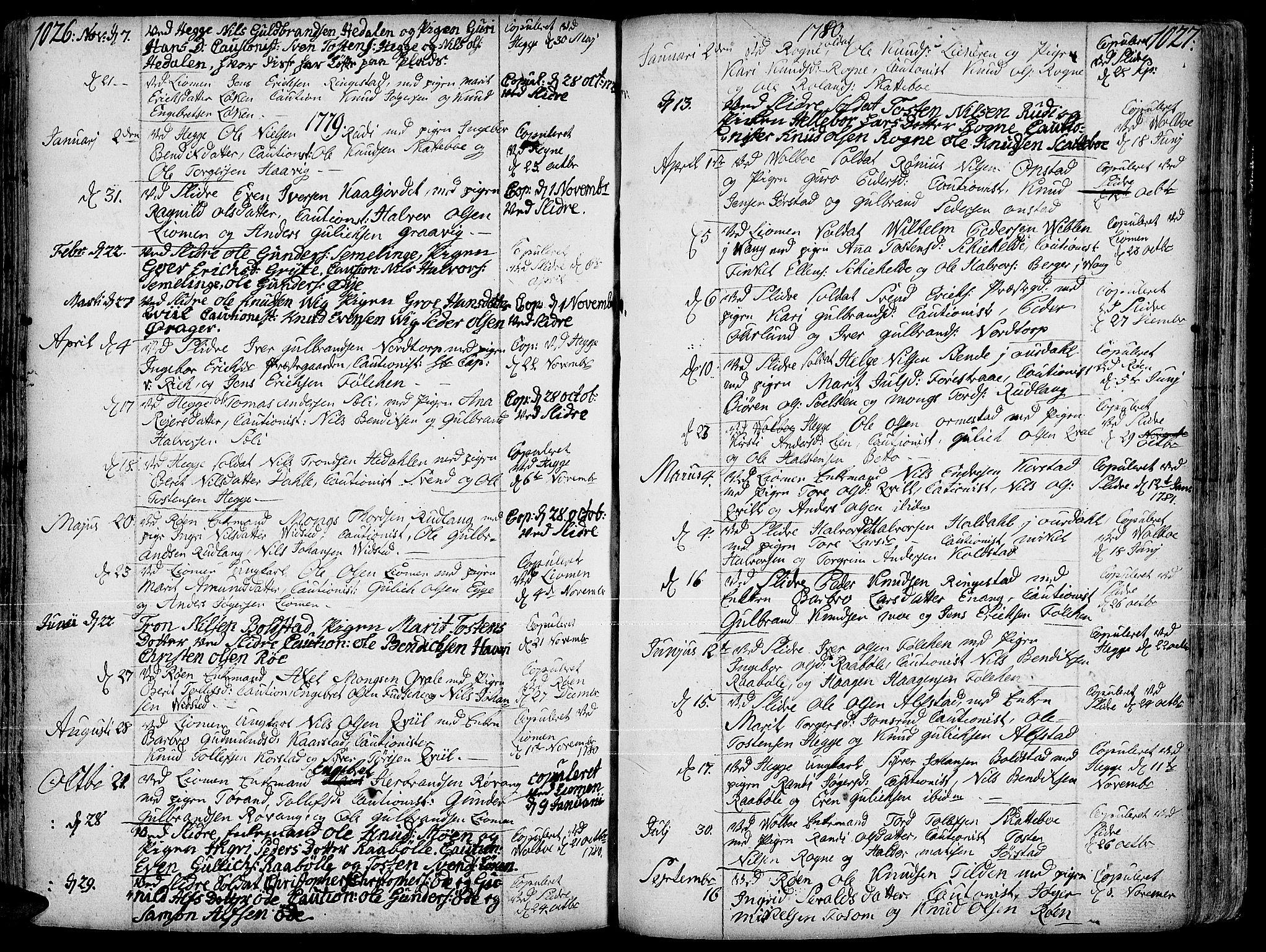 SAH, Slidre prestekontor, Ministerialbok nr. 1, 1724-1814, s. 1026-1027