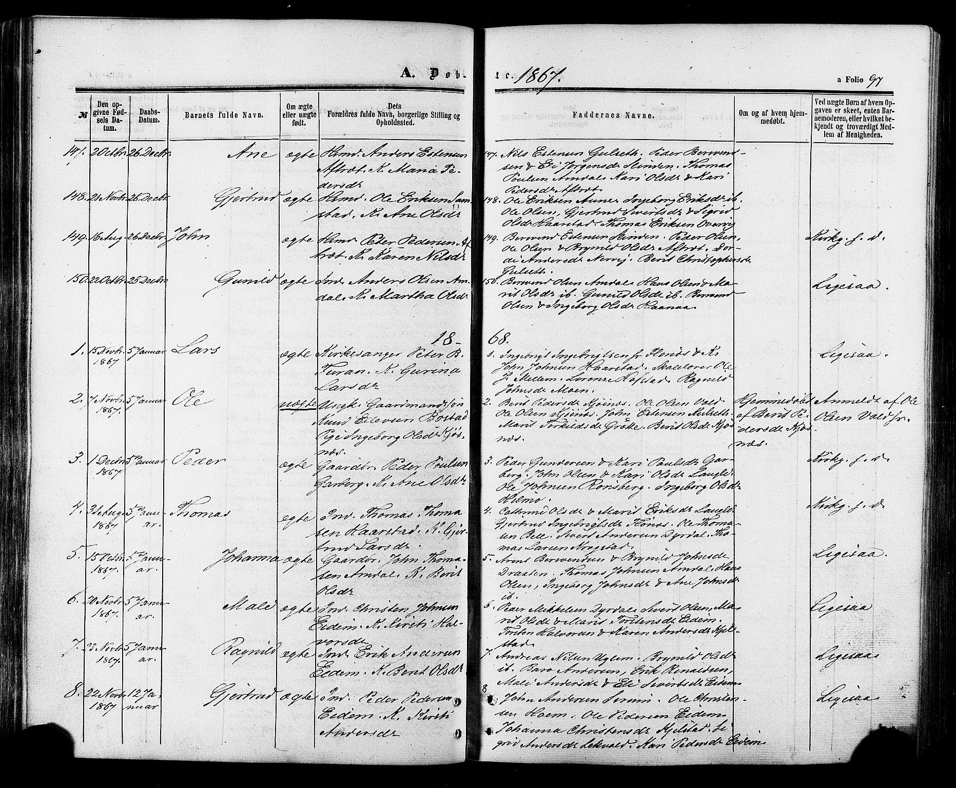 SAT, Ministerialprotokoller, klokkerbøker og fødselsregistre - Sør-Trøndelag, 695/L1147: Ministerialbok nr. 695A07, 1860-1877, s. 97