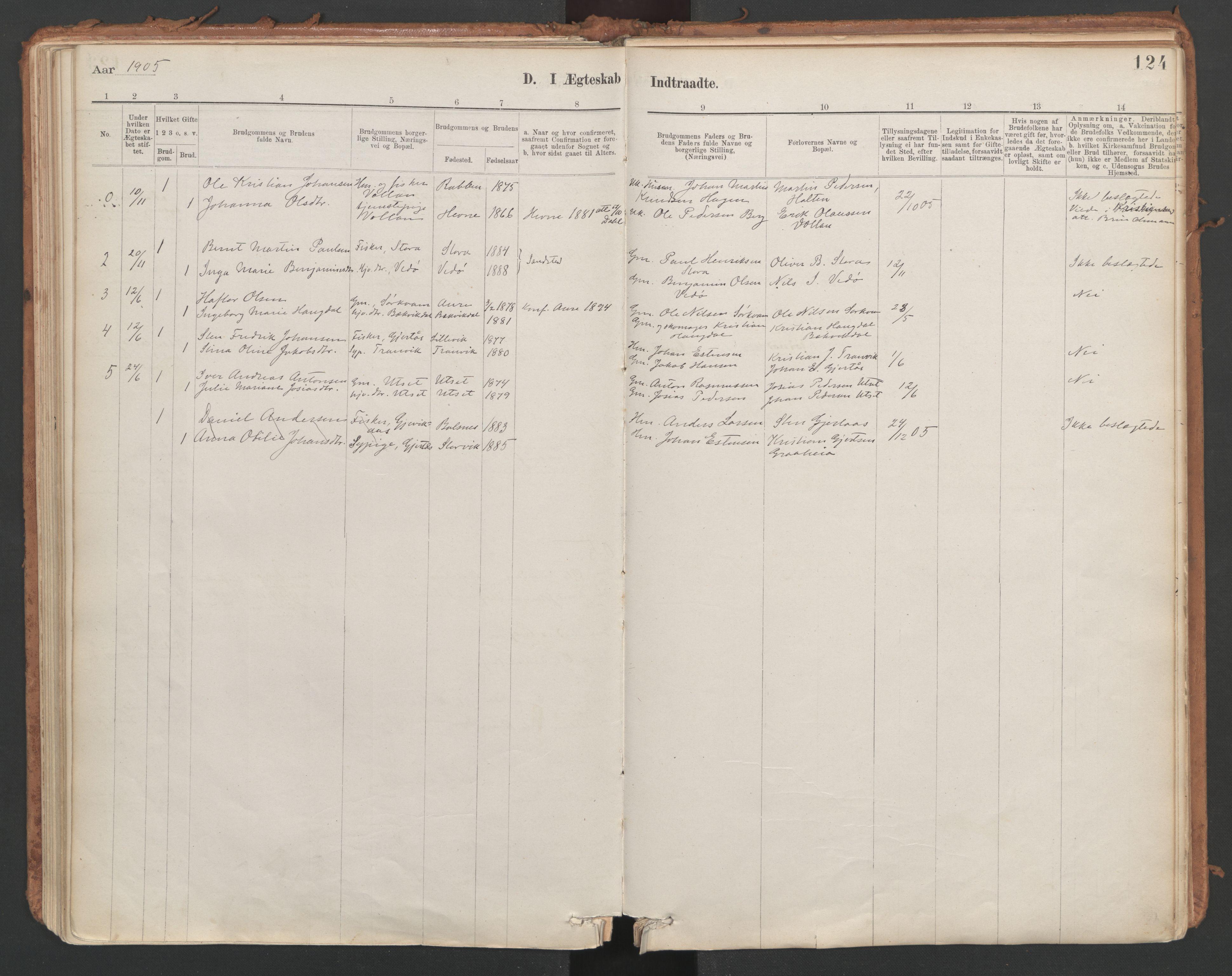 SAT, Ministerialprotokoller, klokkerbøker og fødselsregistre - Sør-Trøndelag, 639/L0572: Ministerialbok nr. 639A01, 1890-1920, s. 124