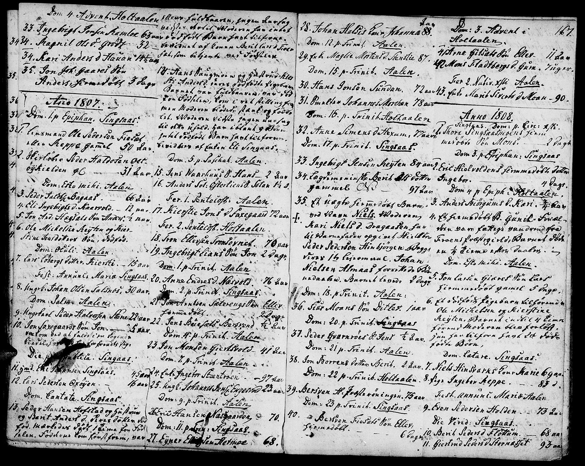 SAT, Ministerialprotokoller, klokkerbøker og fødselsregistre - Sør-Trøndelag, 685/L0953: Ministerialbok nr. 685A02, 1805-1816, s. 167