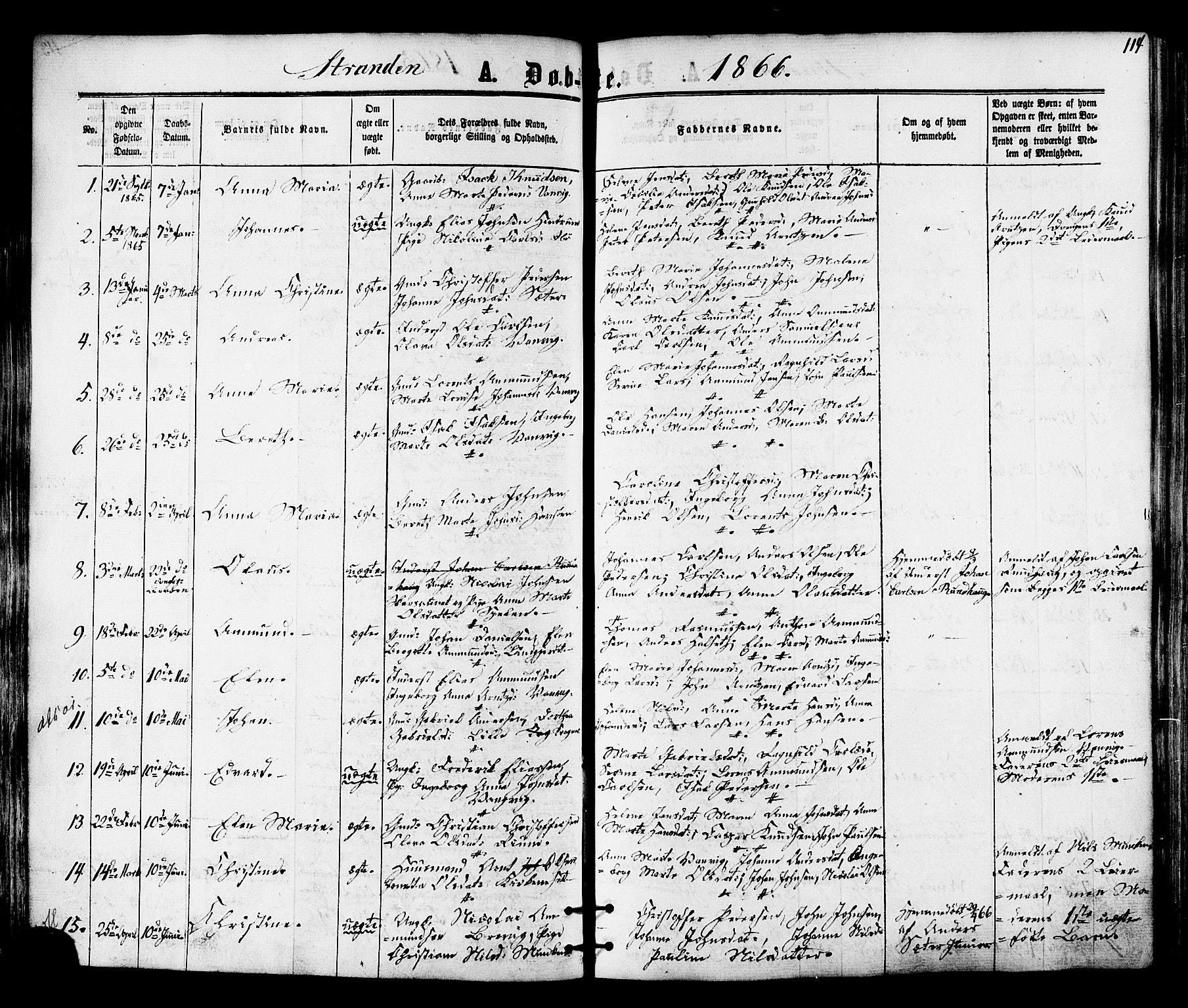 SAT, Ministerialprotokoller, klokkerbøker og fødselsregistre - Nord-Trøndelag, 701/L0009: Ministerialbok nr. 701A09 /2, 1864-1882, s. 114