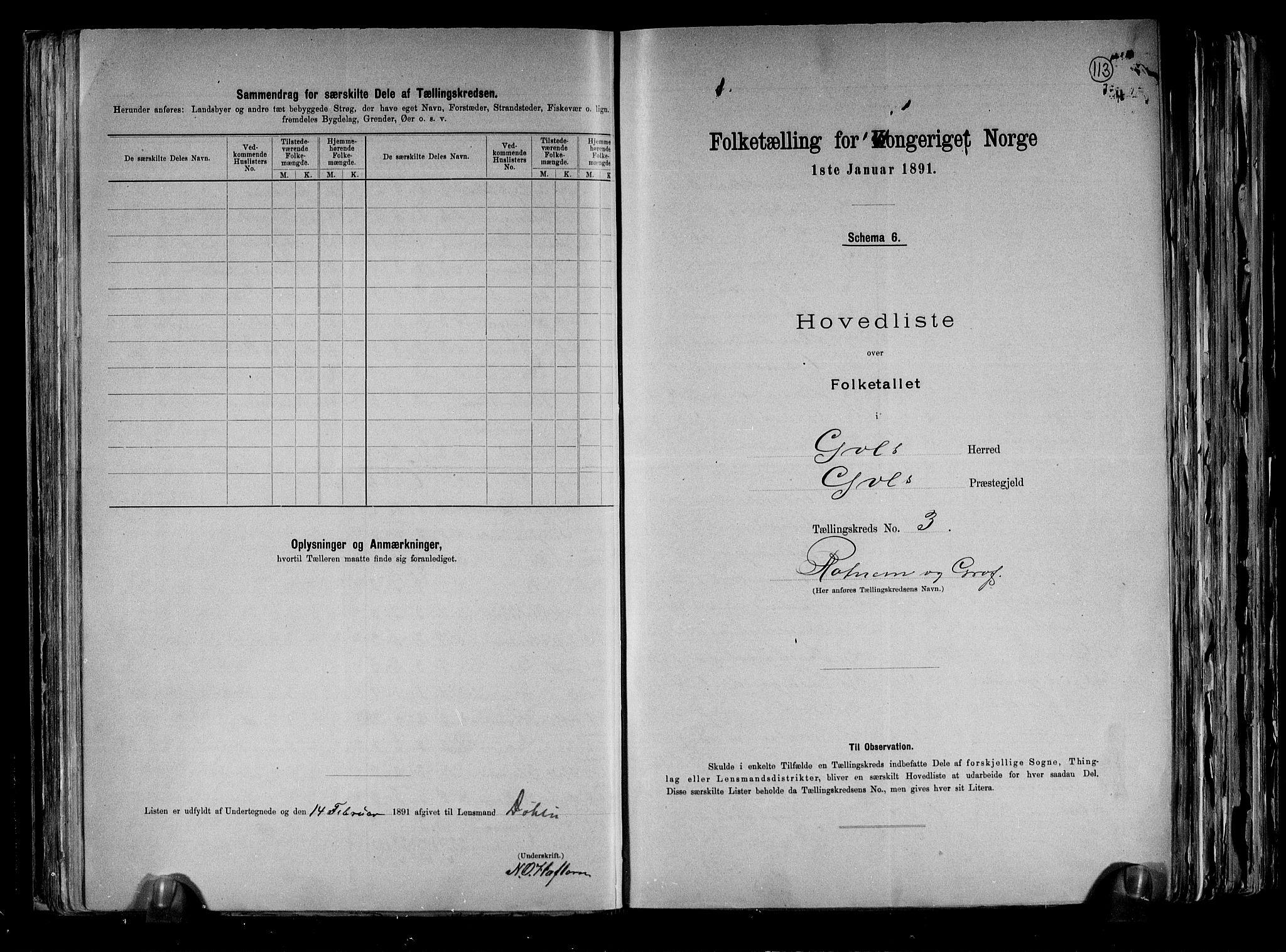 RA, Folketelling 1891 for 0617 Gol og Hemsedal herred, 1891, s. 8