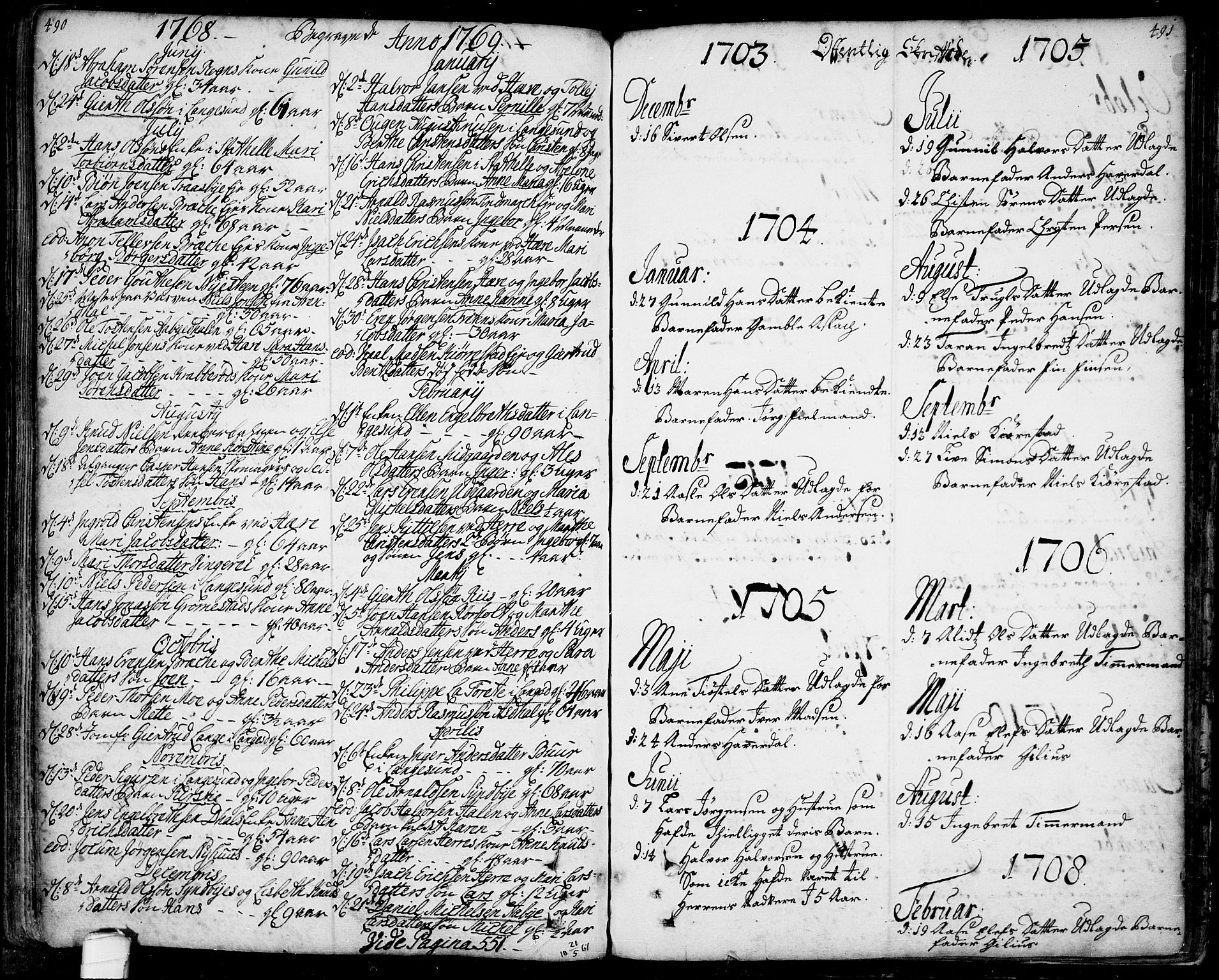 SAKO, Bamble kirkebøker, F/Fa/L0001: Ministerialbok nr. I 1, 1702-1774, s. 490-491