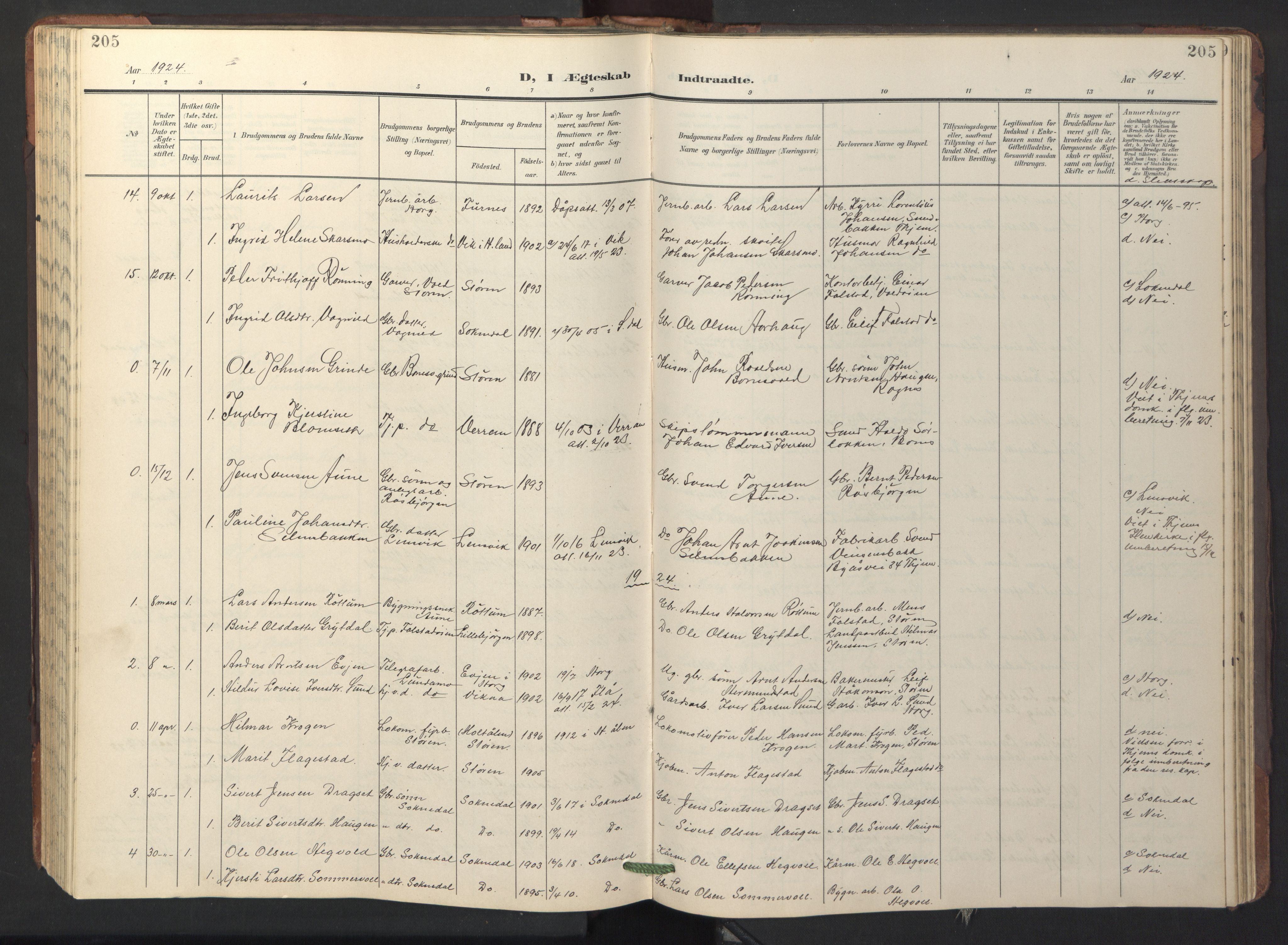 SAT, Ministerialprotokoller, klokkerbøker og fødselsregistre - Sør-Trøndelag, 687/L1019: Klokkerbok nr. 687C03, 1904-1931, s. 205