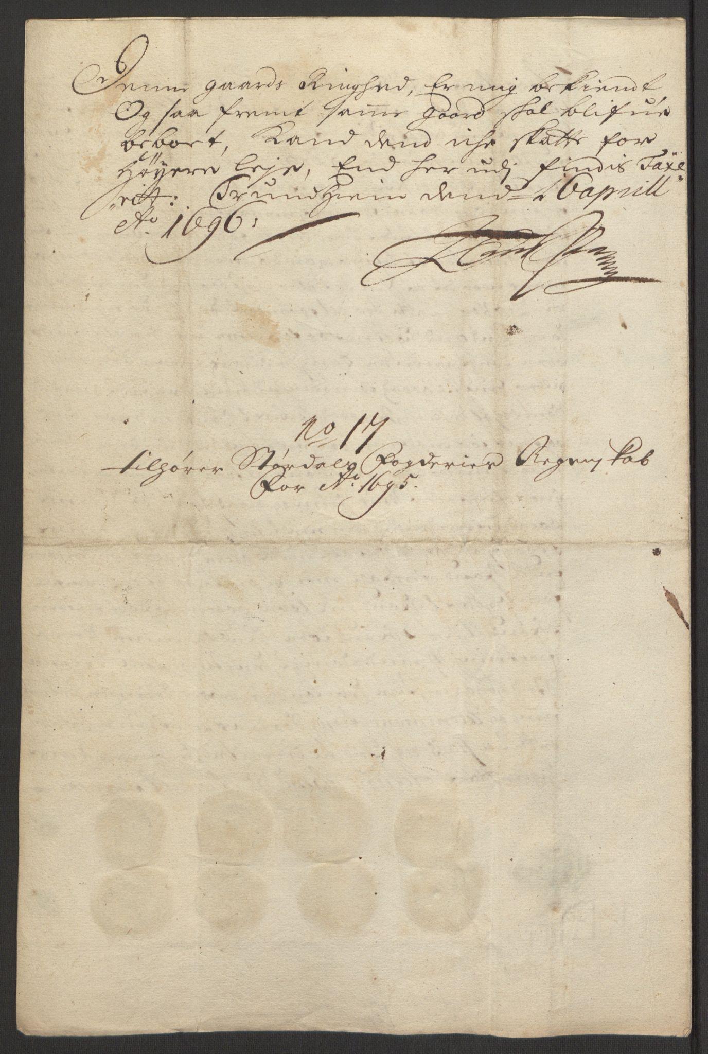 RA, Rentekammeret inntil 1814, Reviderte regnskaper, Fogderegnskap, R62/L4187: Fogderegnskap Stjørdal og Verdal, 1695, s. 216