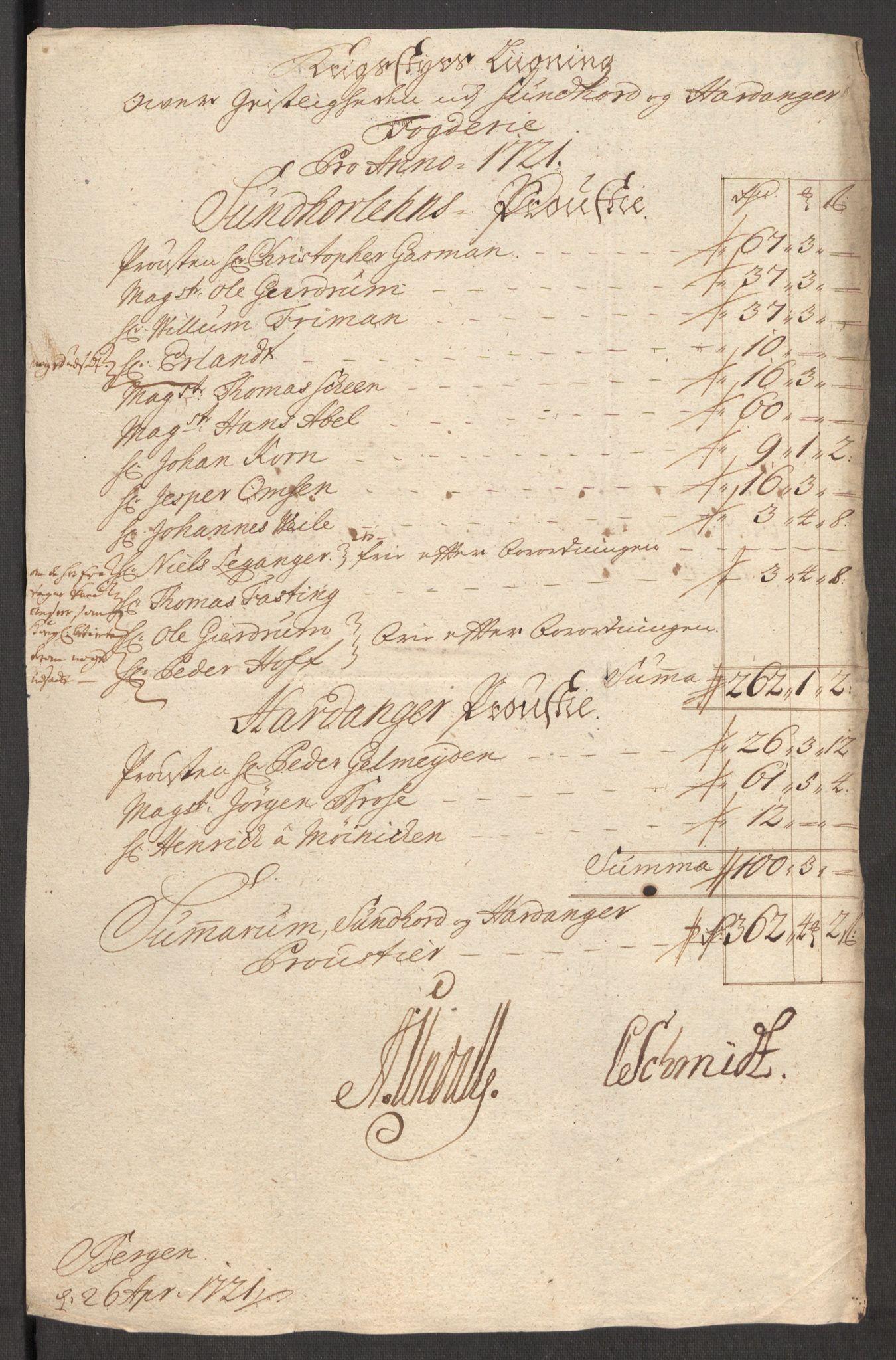 RA, Rentekammeret inntil 1814, Reviderte regnskaper, Fogderegnskap, R48/L3000: Fogderegnskap Sunnhordland og Hardanger, 1721, s. 96