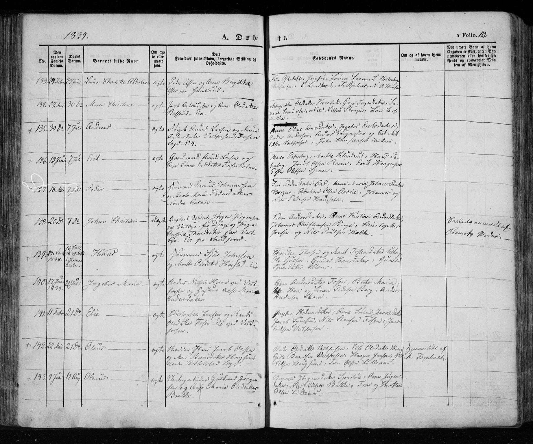 SAKO, Eiker kirkebøker, F/Fa/L0013a: Ministerialbok nr. 13A, 1832-1845, s. 122
