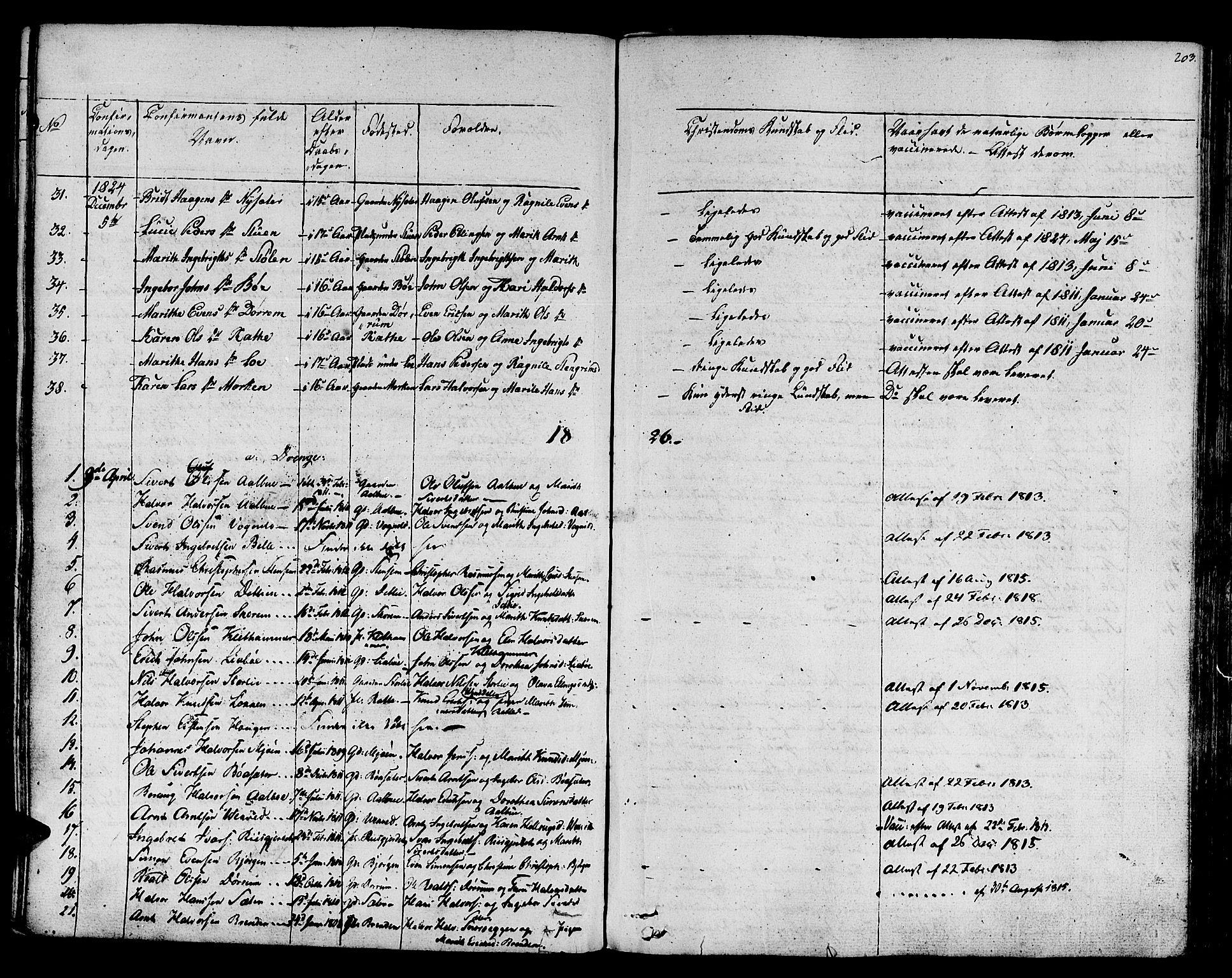 SAT, Ministerialprotokoller, klokkerbøker og fødselsregistre - Sør-Trøndelag, 678/L0897: Ministerialbok nr. 678A06-07, 1821-1847, s. 203