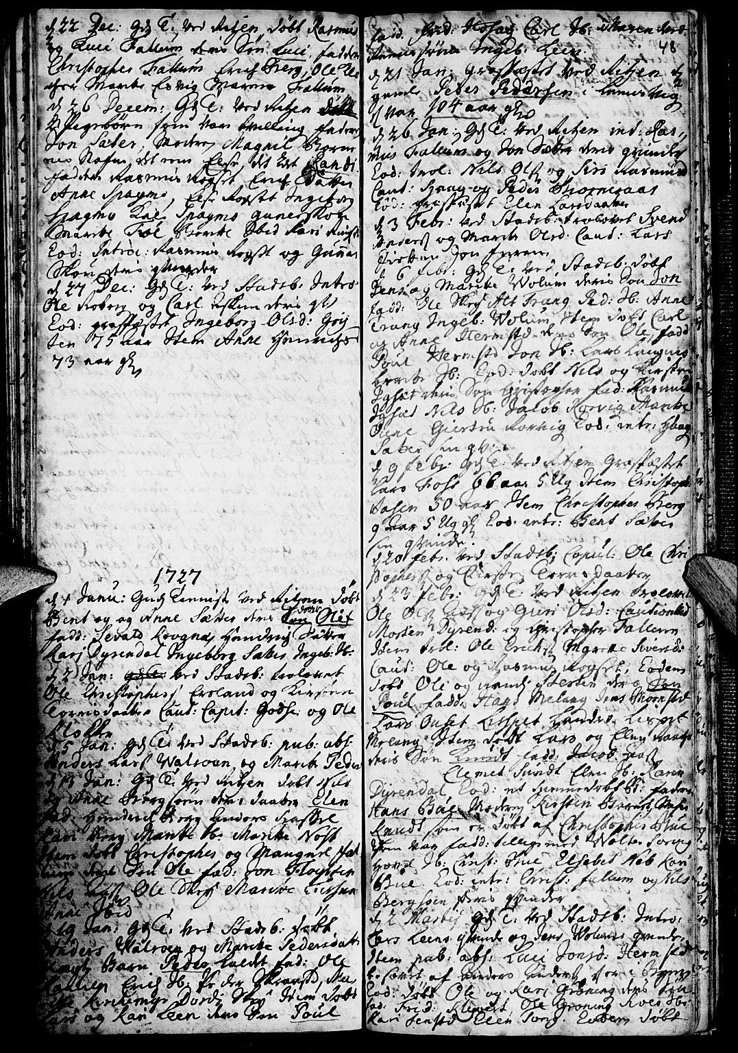 SAT, Ministerialprotokoller, klokkerbøker og fødselsregistre - Sør-Trøndelag, 646/L0603: Ministerialbok nr. 646A01, 1700-1734, s. 48