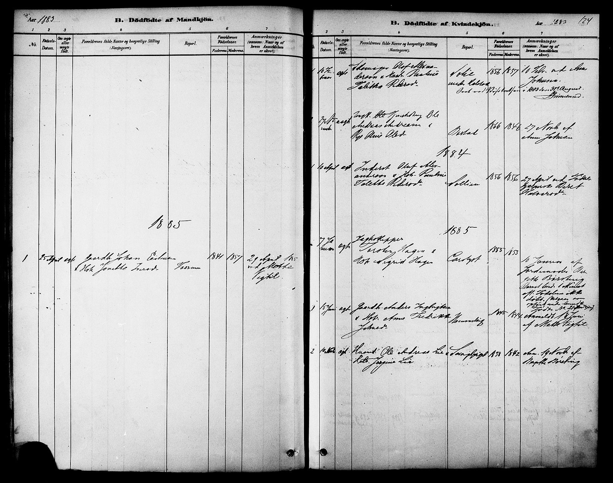SAT, Ministerialprotokoller, klokkerbøker og fødselsregistre - Sør-Trøndelag, 616/L0410: Ministerialbok nr. 616A07, 1878-1893, s. 124