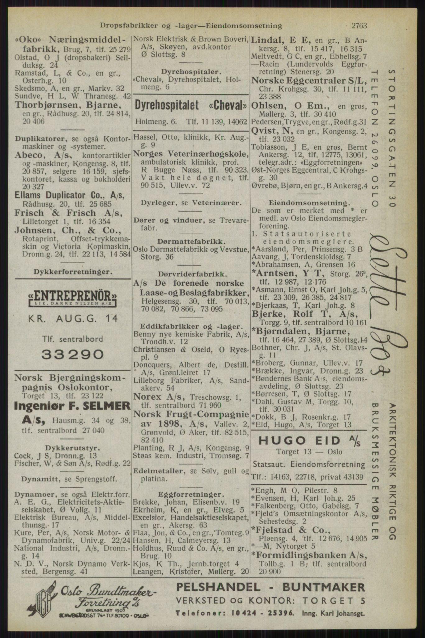 RA, Oslo adressebok (publikasjon)*, 1944, s. 2763