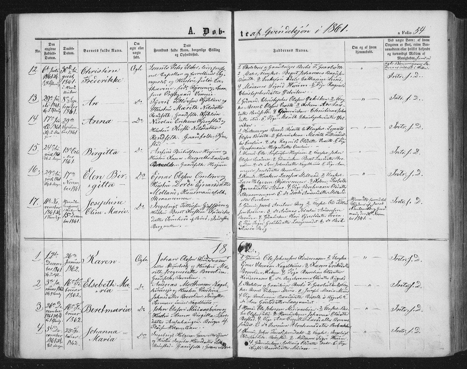 SAT, Ministerialprotokoller, klokkerbøker og fødselsregistre - Nord-Trøndelag, 749/L0472: Ministerialbok nr. 749A06, 1857-1873, s. 54