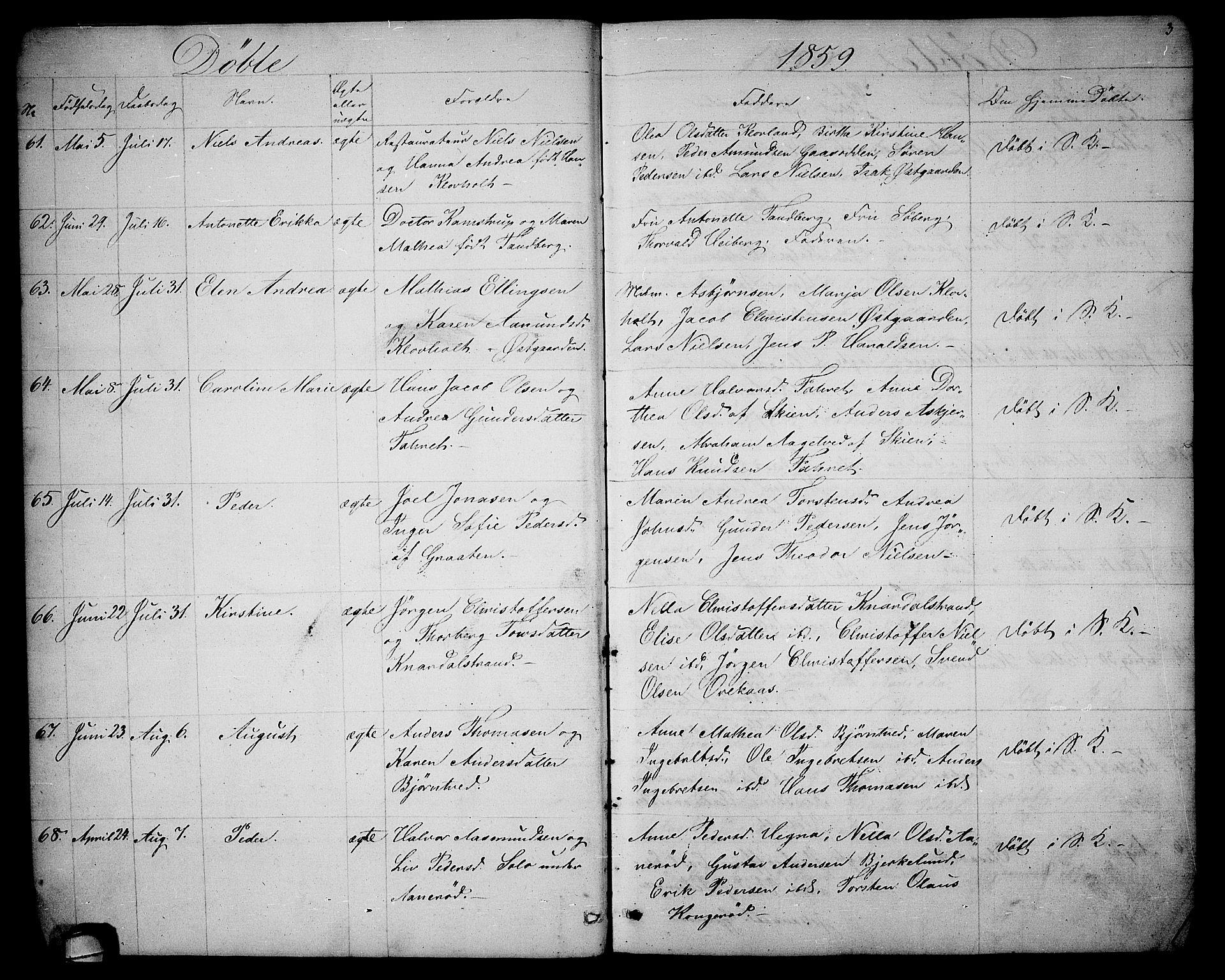 SAKO, Solum kirkebøker, G/Ga/L0004: Klokkerbok nr. I 4, 1859-1876, s. 3
