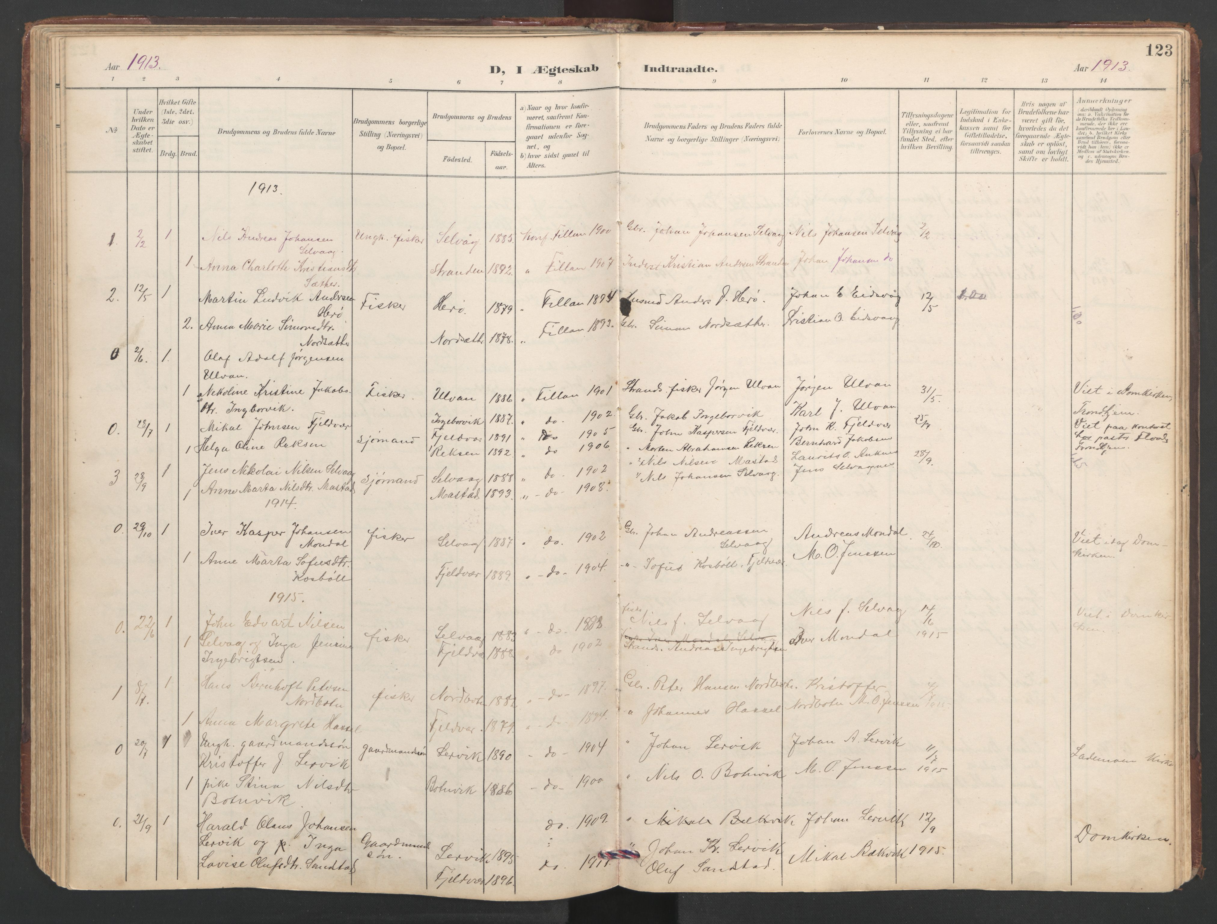 SAT, Ministerialprotokoller, klokkerbøker og fødselsregistre - Sør-Trøndelag, 638/L0571: Klokkerbok nr. 638C03, 1901-1930, s. 123