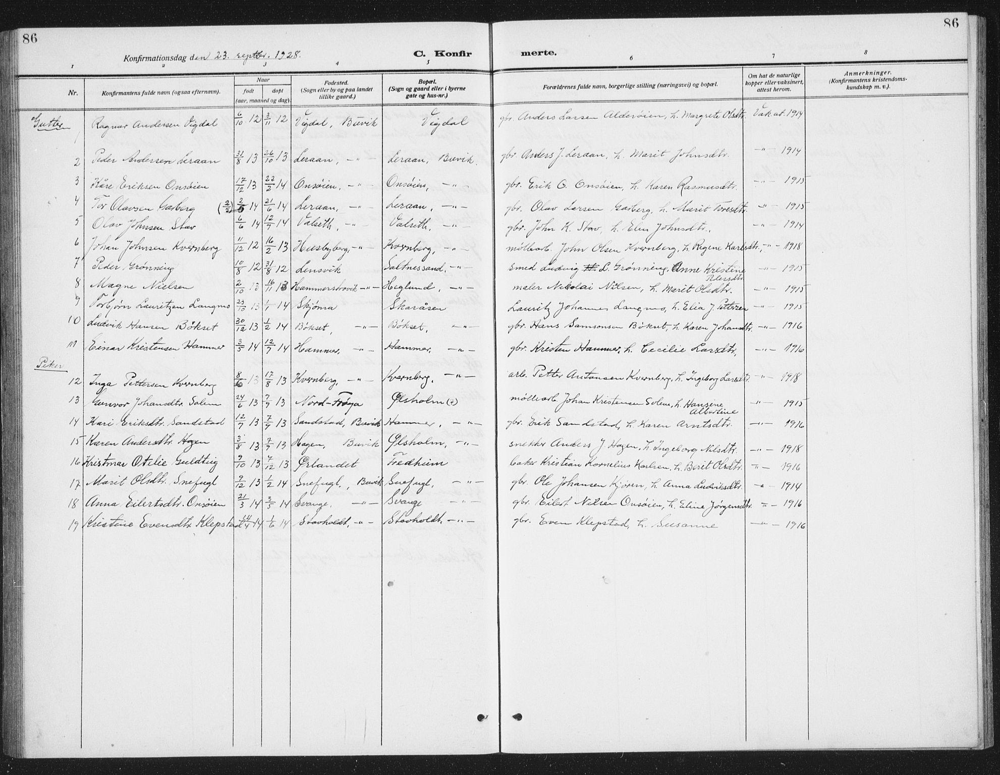 SAT, Ministerialprotokoller, klokkerbøker og fødselsregistre - Sør-Trøndelag, 666/L0791: Klokkerbok nr. 666C04, 1909-1939, s. 86