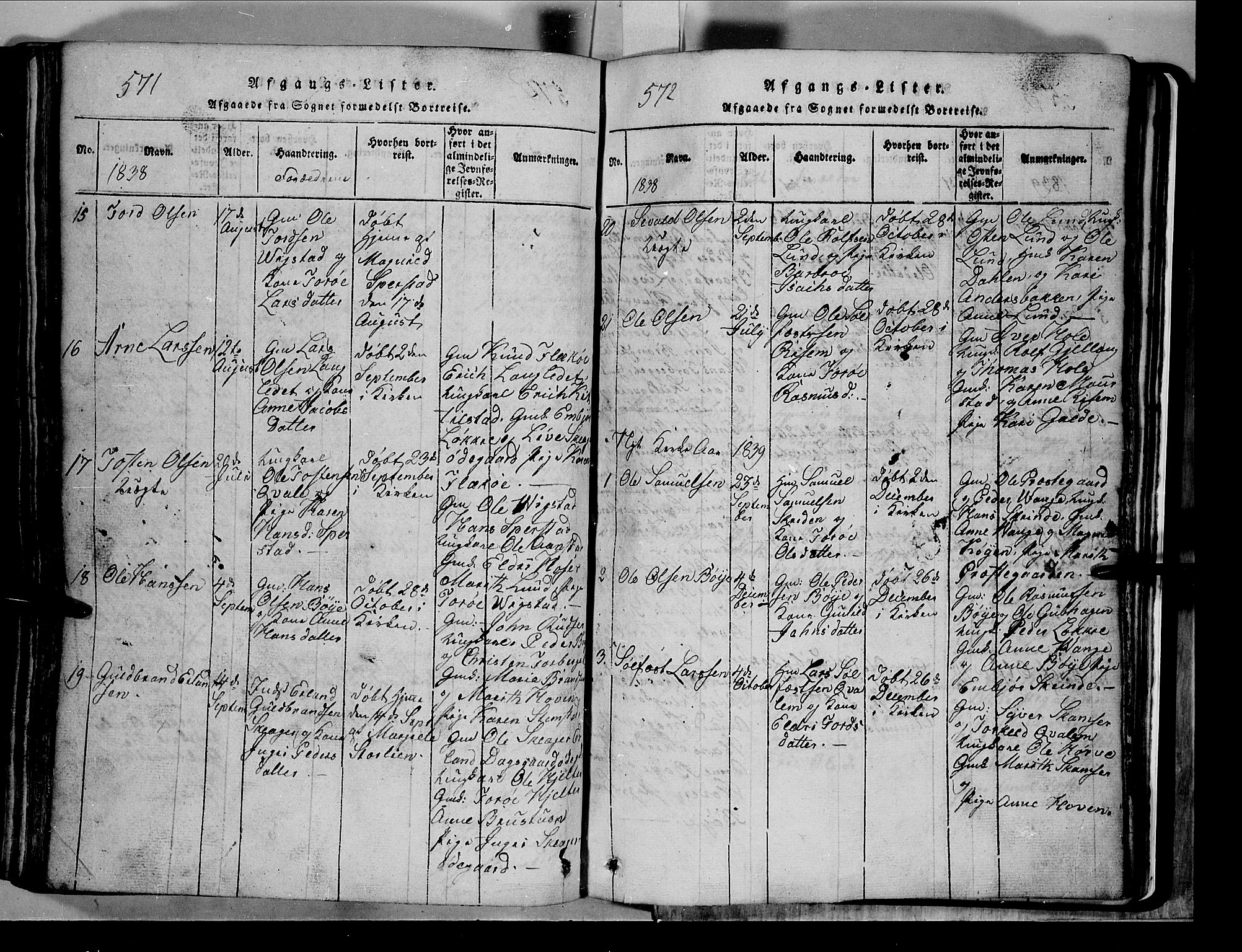 SAH, Lom prestekontor, L/L0003: Klokkerbok nr. 3, 1815-1844, s. 571-572