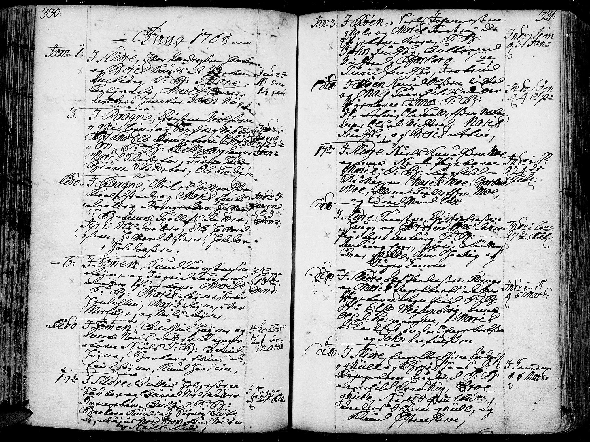 SAH, Slidre prestekontor, Ministerialbok nr. 1, 1724-1814, s. 330-331