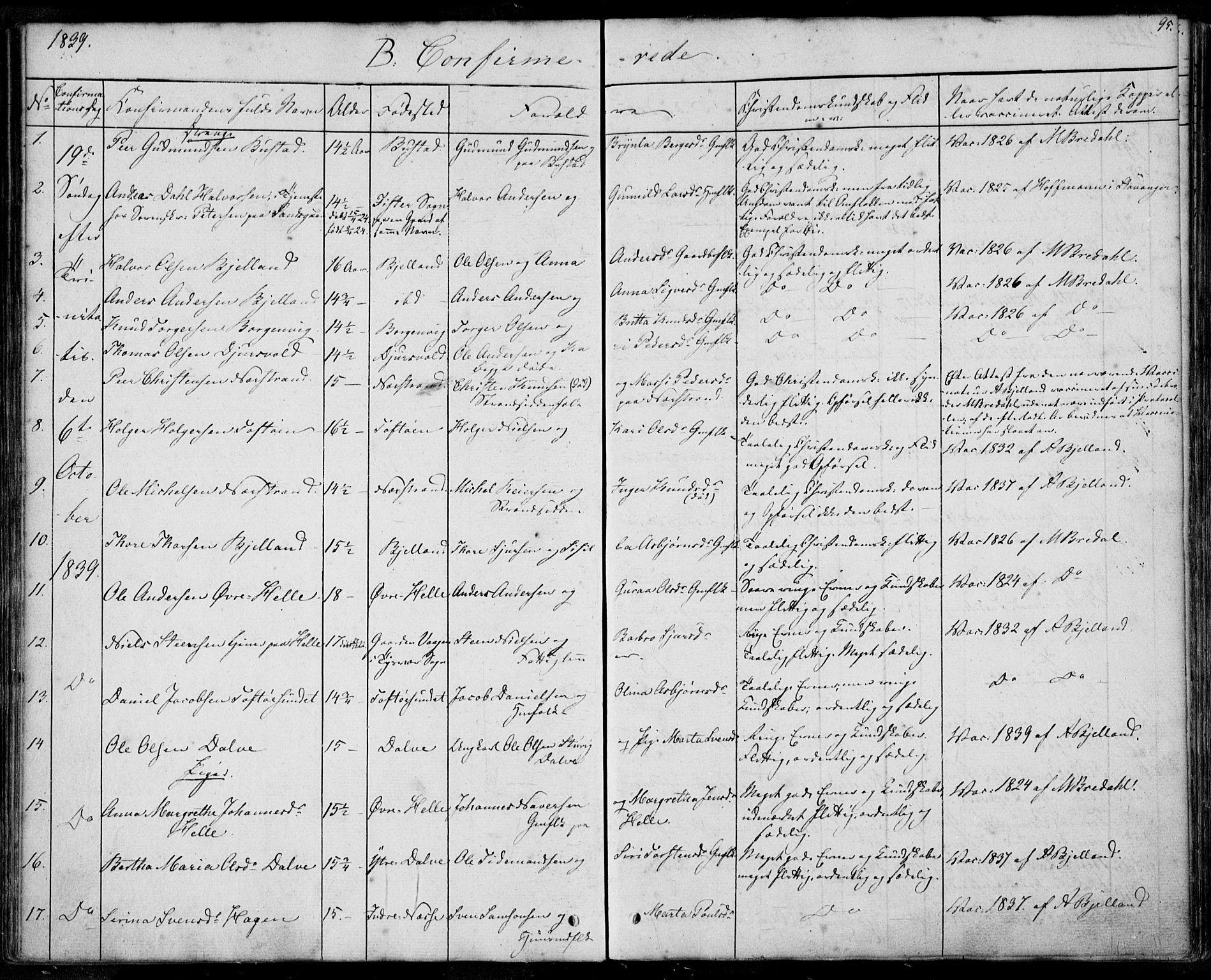 SAST, Nedstrand sokneprestkontor, IV: Ministerialbok nr. A 8, 1839-1860, s. 95