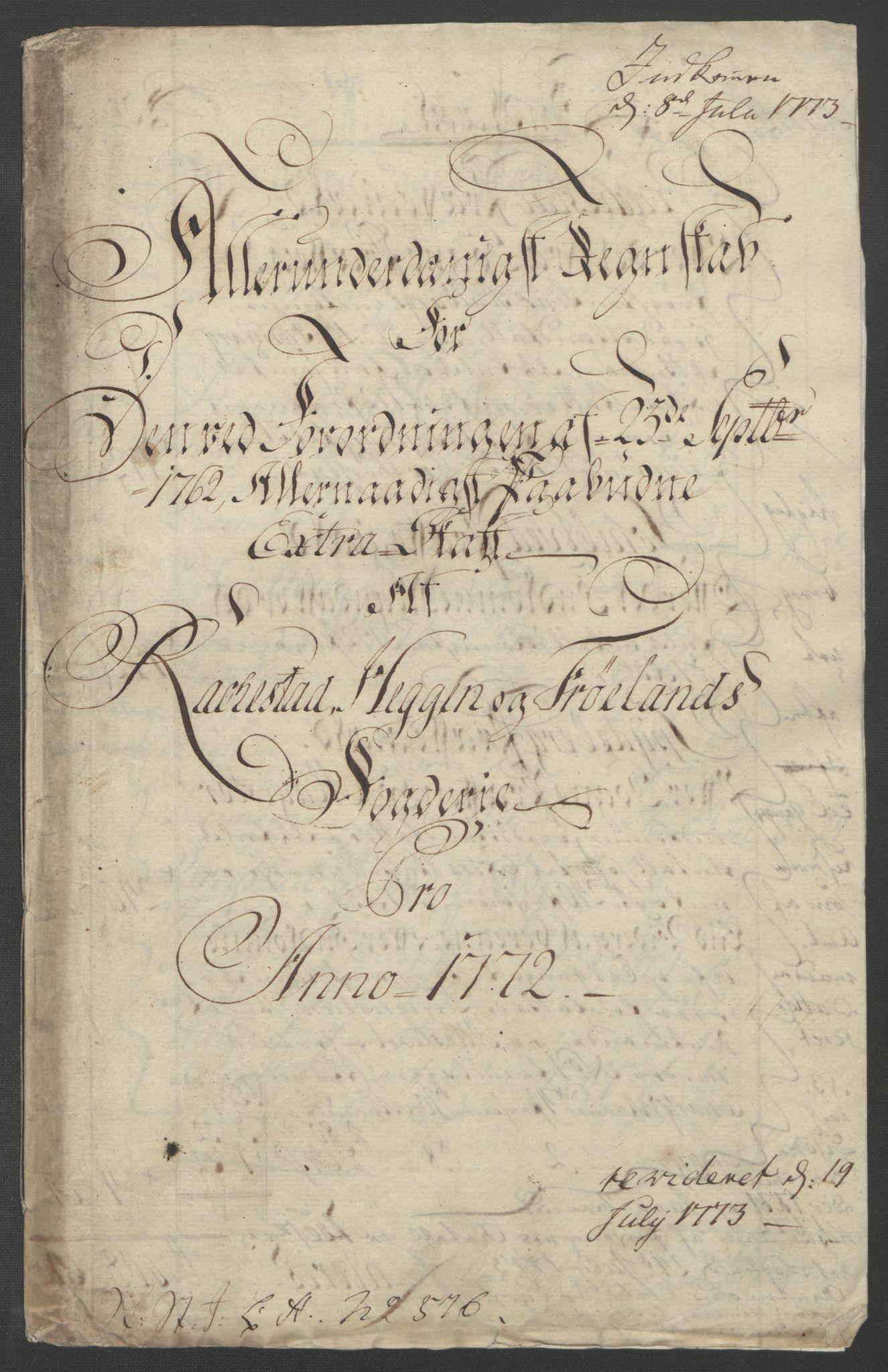 RA, Rentekammeret inntil 1814, Reviderte regnskaper, Fogderegnskap, R07/L0413: Ekstraskatten Rakkestad, Heggen og Frøland, 1762-1772, s. 516