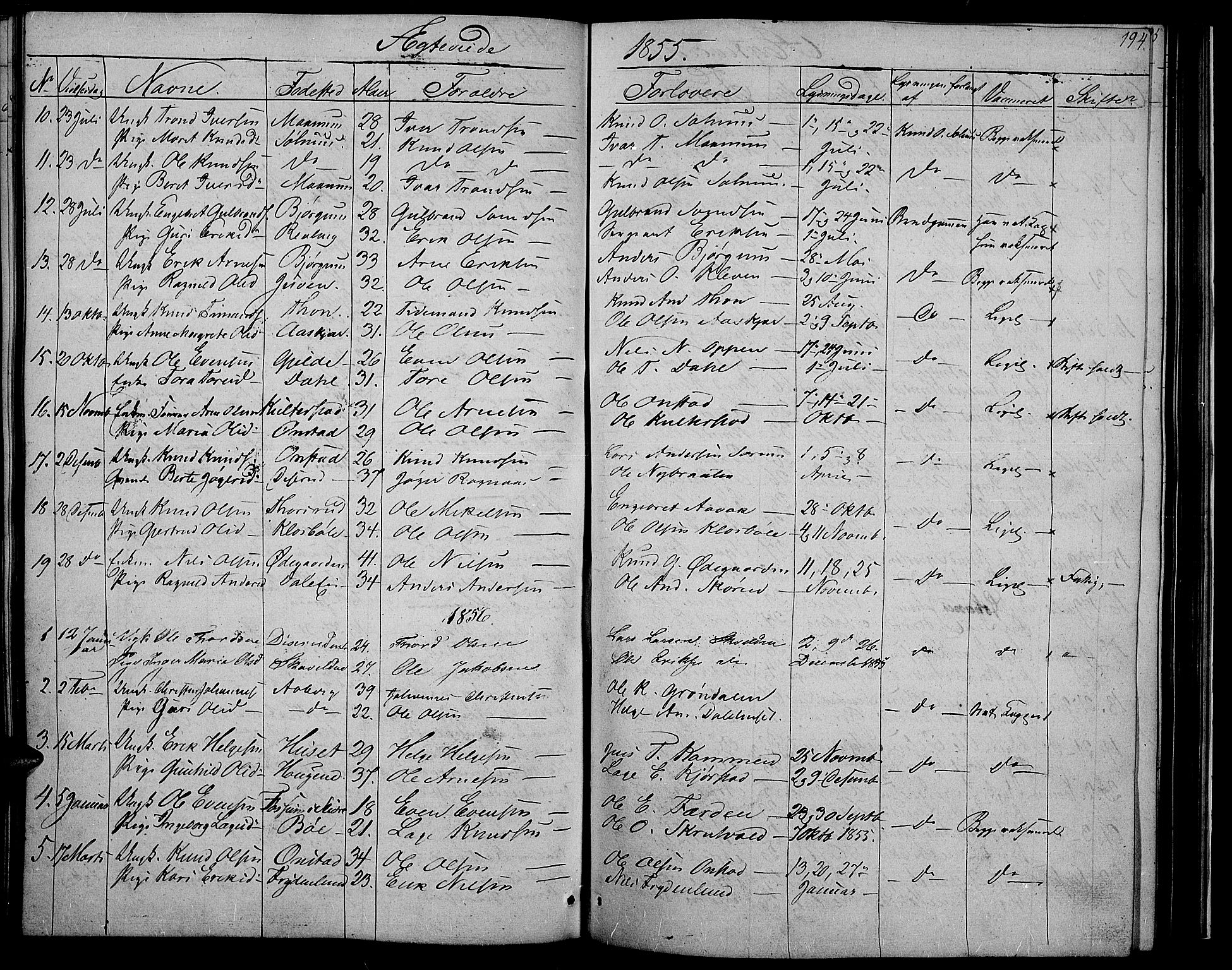 SAH, Nord-Aurdal prestekontor, Klokkerbok nr. 2, 1842-1877, s. 194