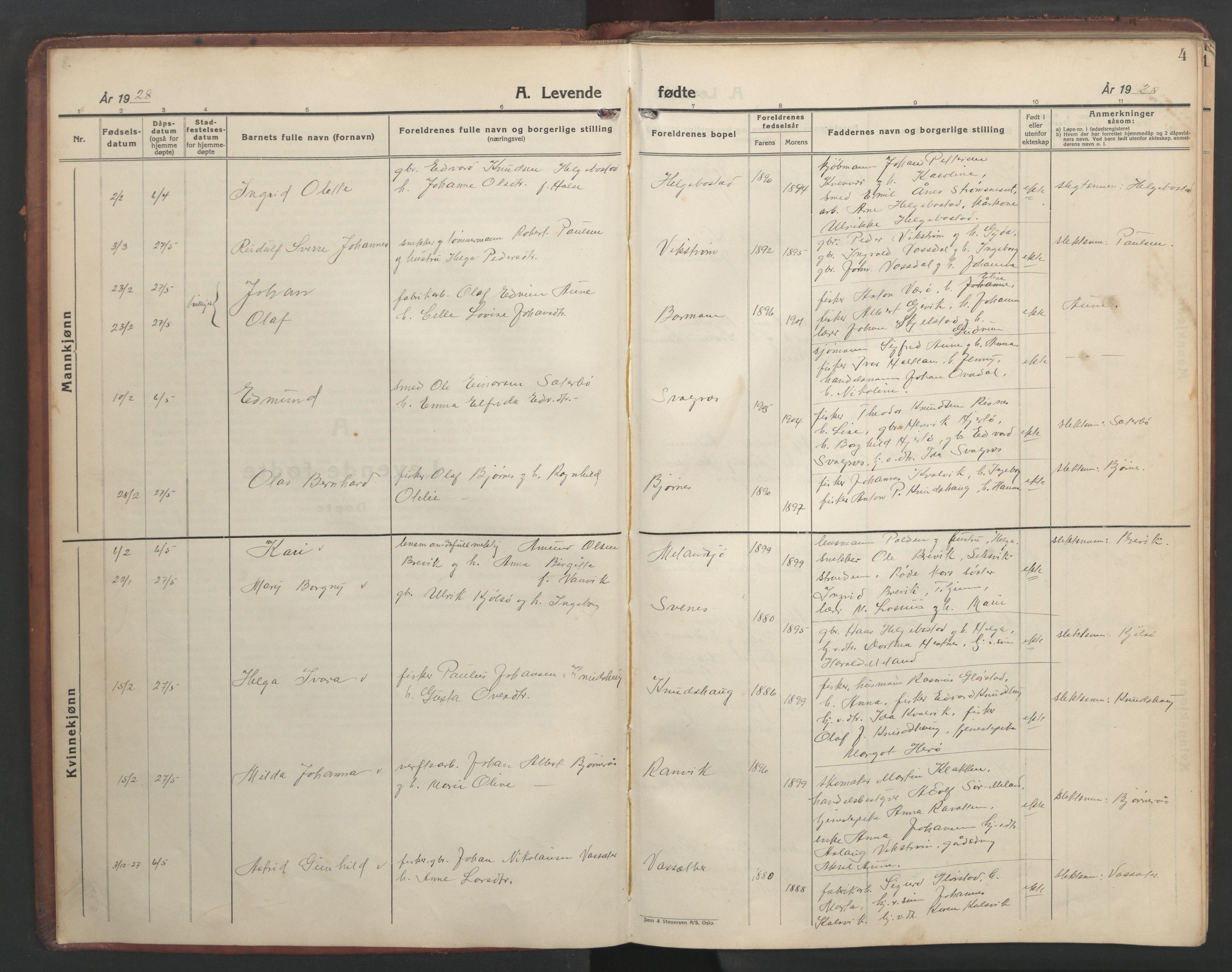 SAT, Ministerialprotokoller, klokkerbøker og fødselsregistre - Sør-Trøndelag, 634/L0544: Klokkerbok nr. 634C06, 1927-1948, s. 4