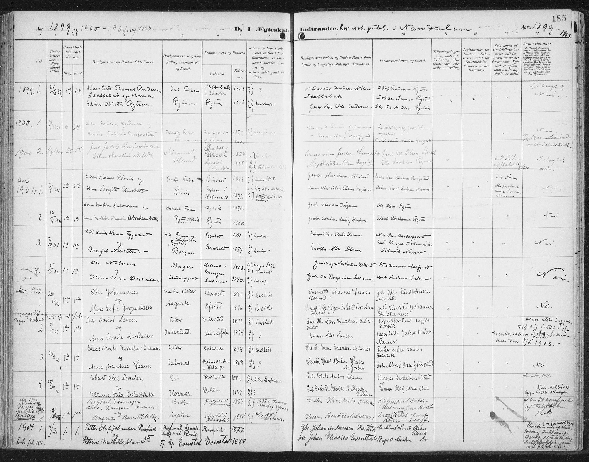 SAT, Ministerialprotokoller, klokkerbøker og fødselsregistre - Nord-Trøndelag, 786/L0688: Ministerialbok nr. 786A04, 1899-1912, s. 185