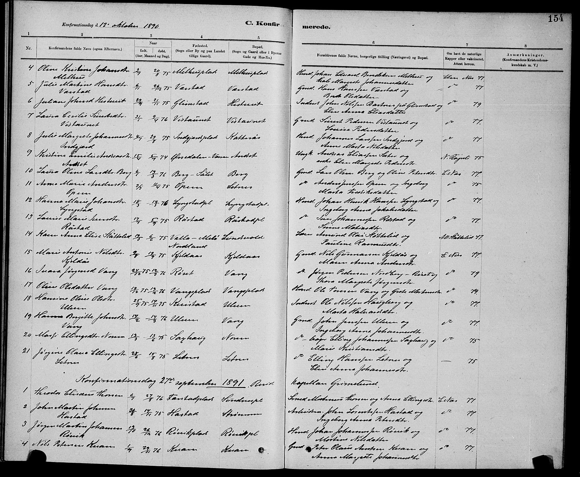 SAT, Ministerialprotokoller, klokkerbøker og fødselsregistre - Nord-Trøndelag, 730/L0301: Klokkerbok nr. 730C04, 1880-1897, s. 154