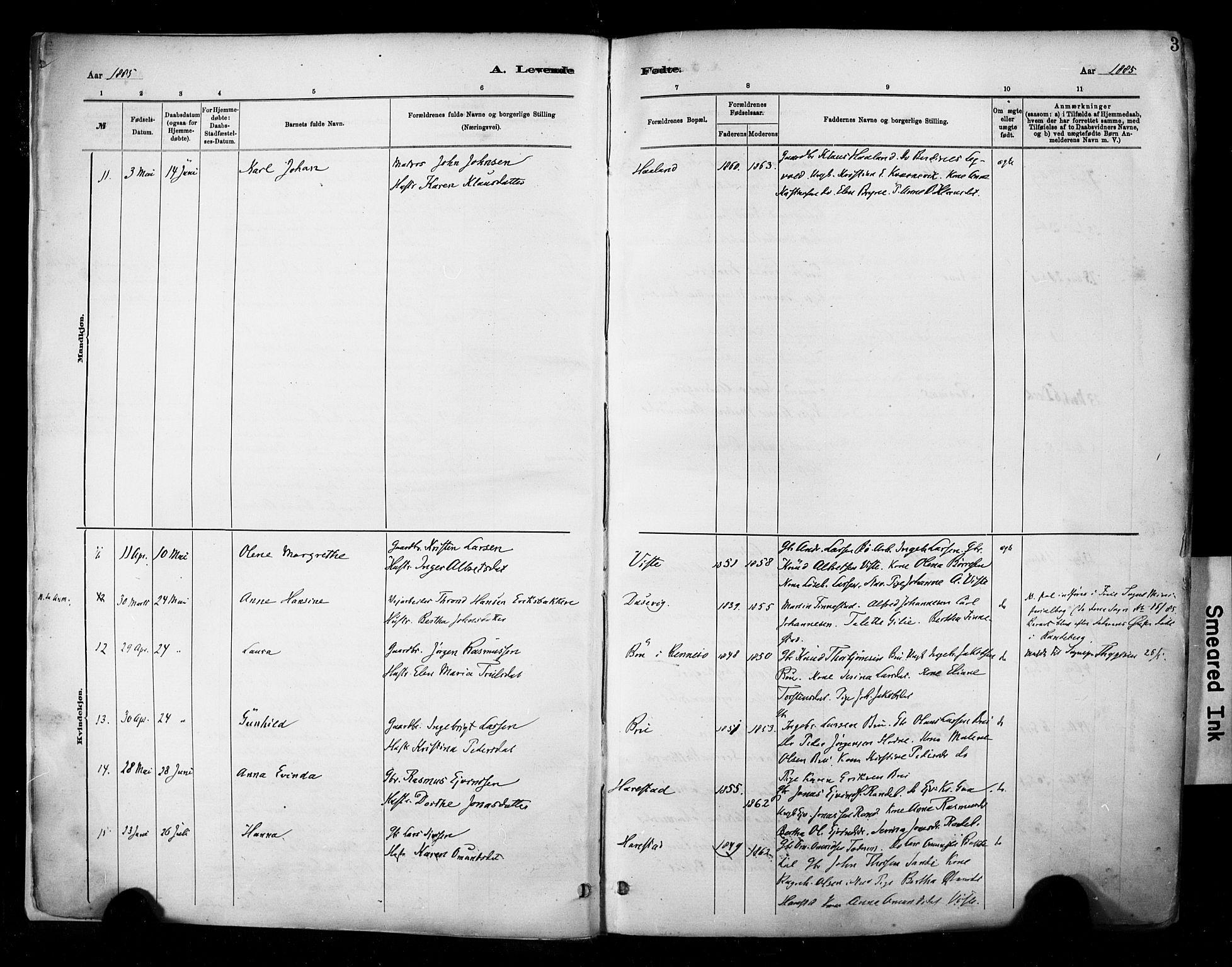 SAST, Hetland sokneprestkontor, 30/30BA/L0009: Ministerialbok nr. A 9, 1882-1918, s. 3