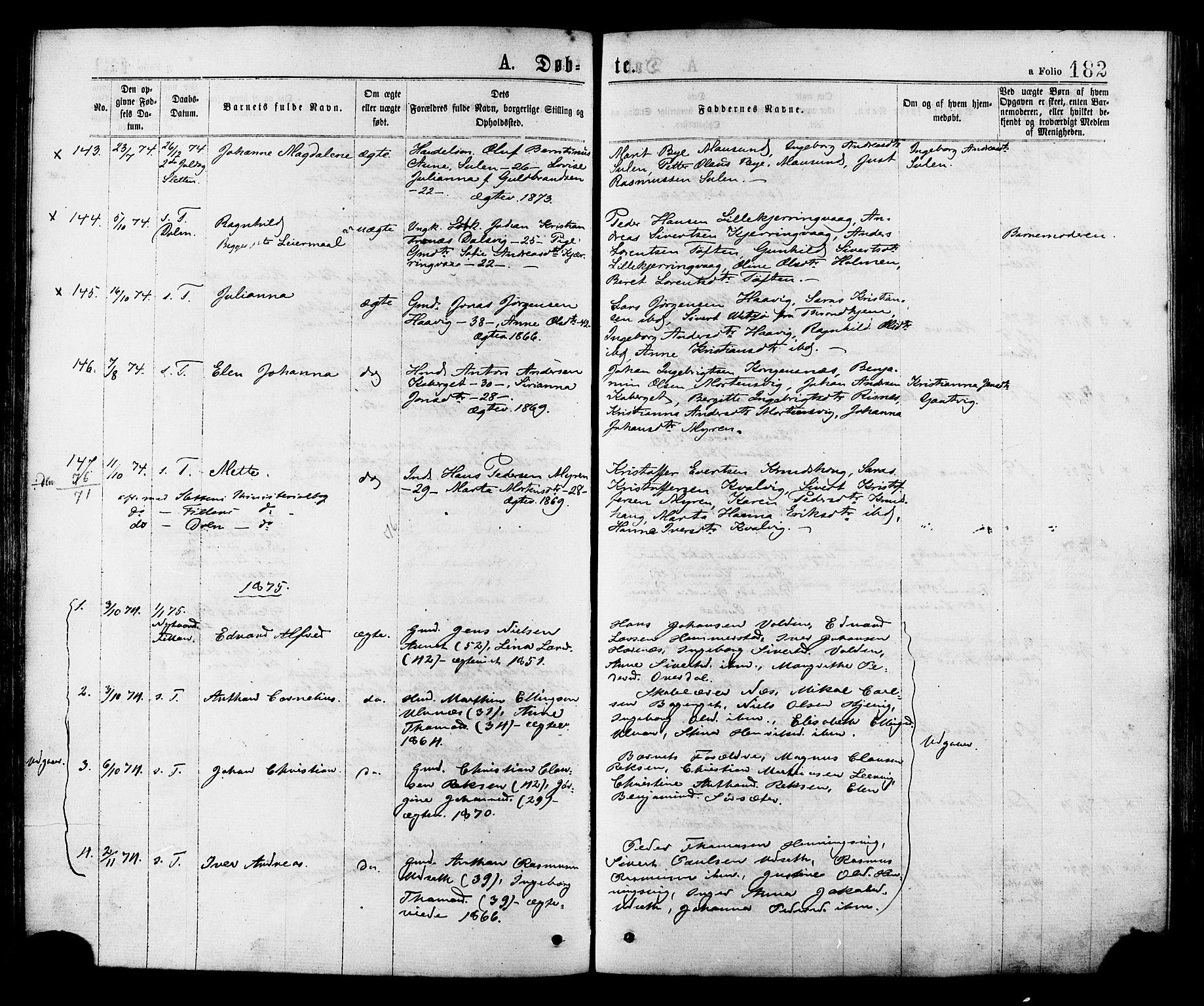 SAT, Ministerialprotokoller, klokkerbøker og fødselsregistre - Sør-Trøndelag, 634/L0532: Ministerialbok nr. 634A08, 1871-1881, s. 182