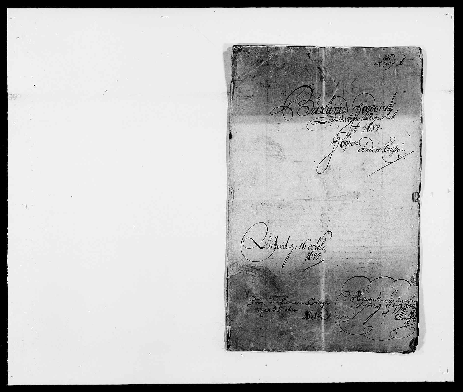 RA, Rentekammeret inntil 1814, Reviderte regnskaper, Fogderegnskap, R25/L1680: Fogderegnskap Buskerud, 1689-1690, s. 2